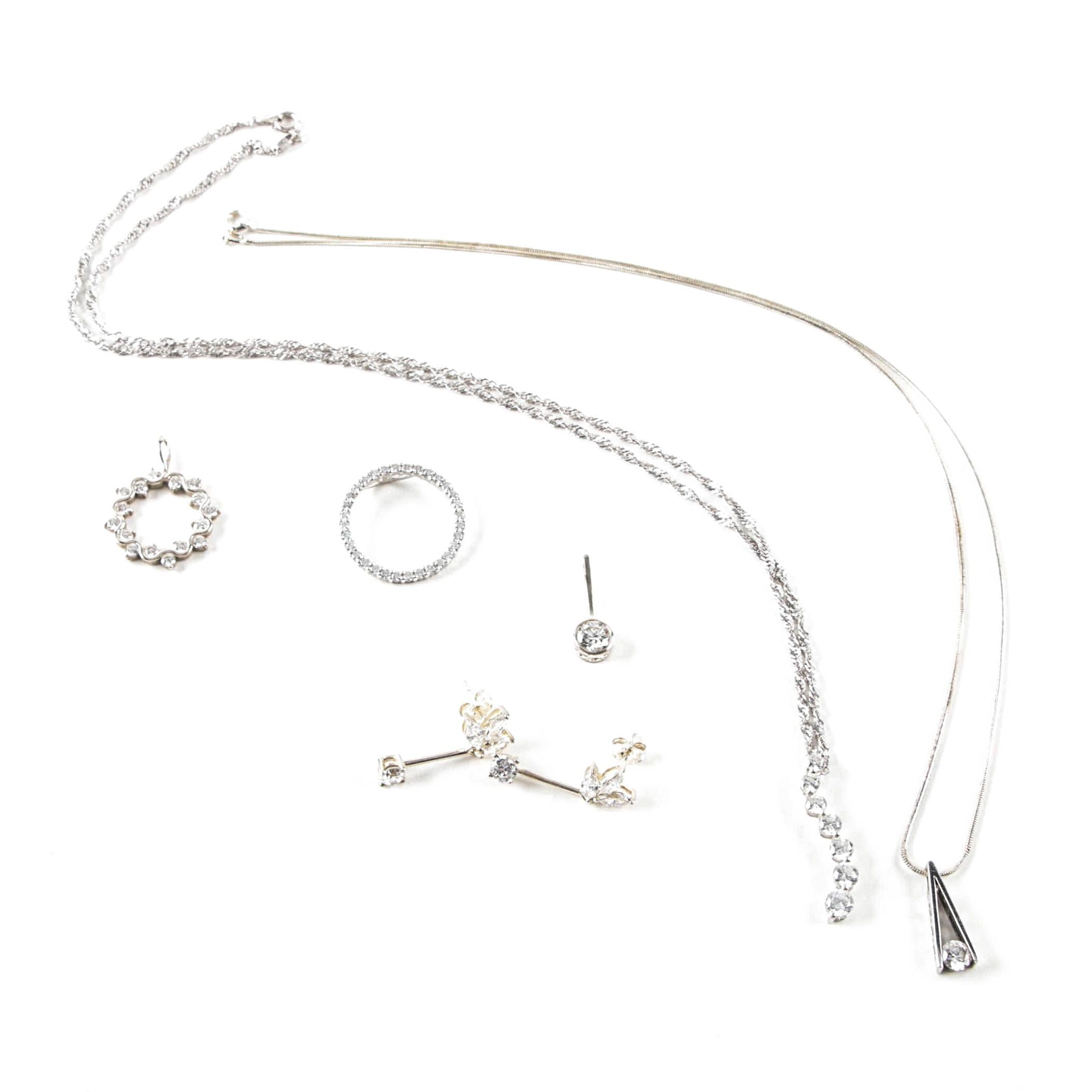 Sterling Silver Cubic Zirconia Necklaces, Pendants and Earrings