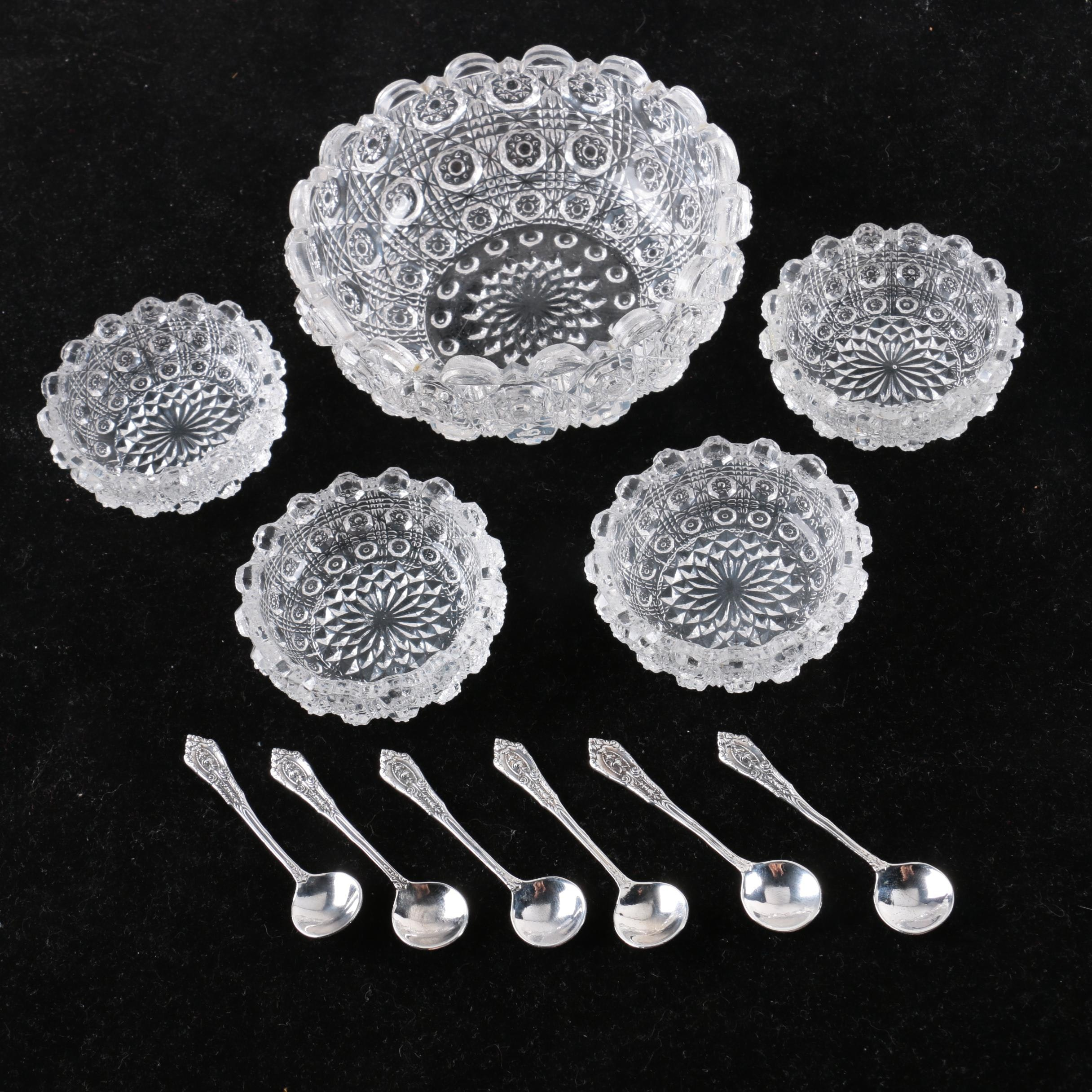 Sterling Silver Salt Spoons with Glass Salt Cellars