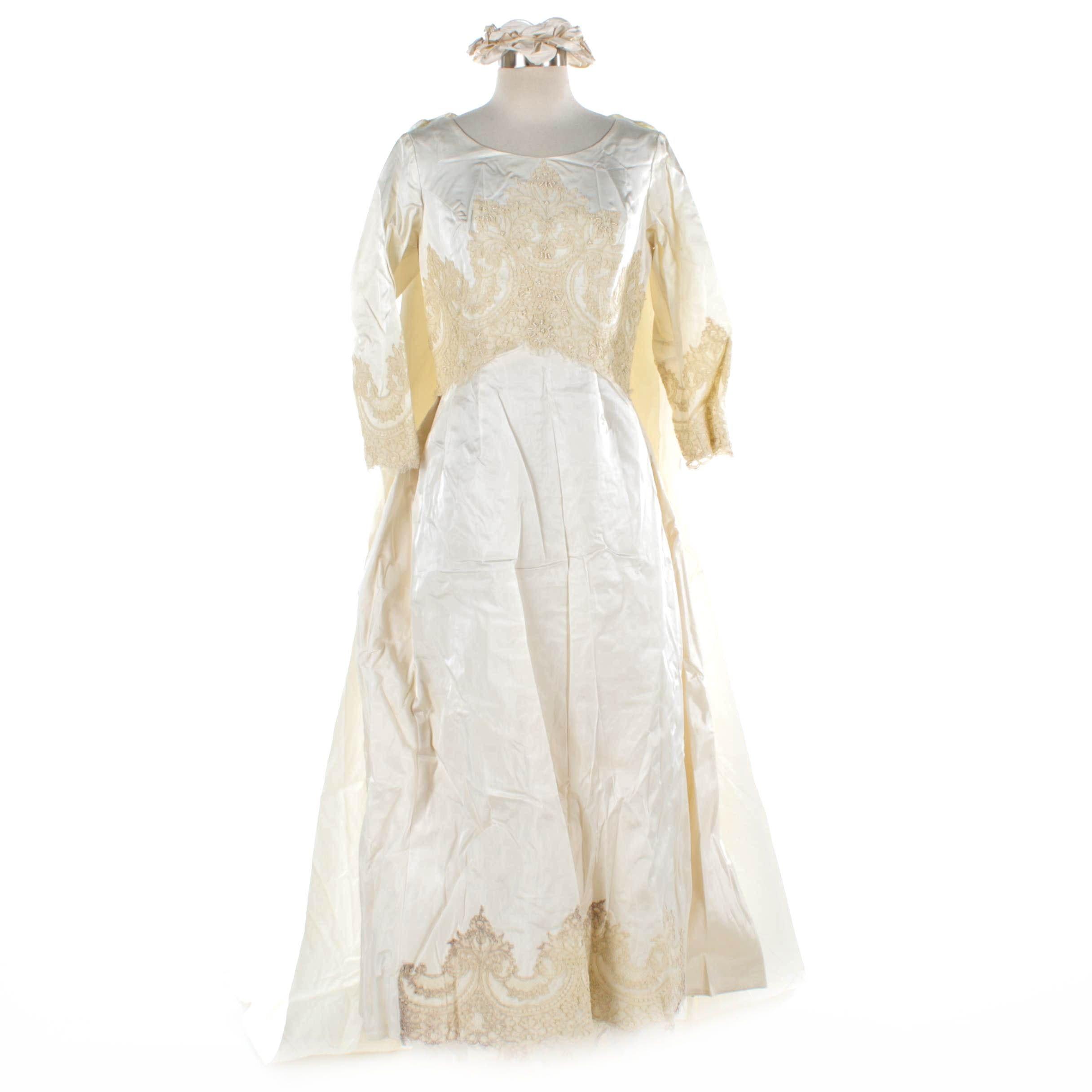 Circa 1960s Vintage Wedding Dress, Detachable Train and Headpiece