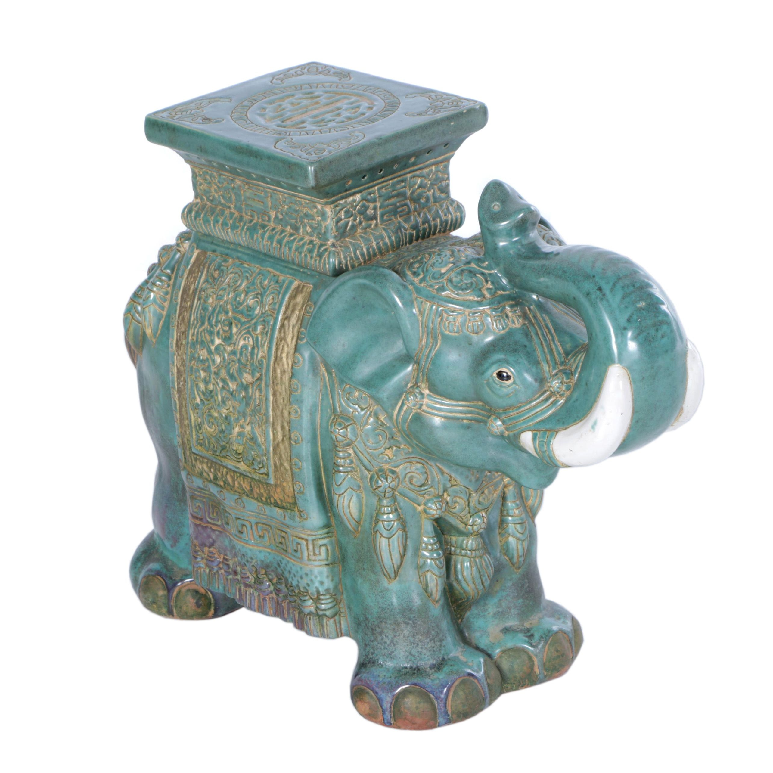 Chinese Ceramic Elephant Plant Stand