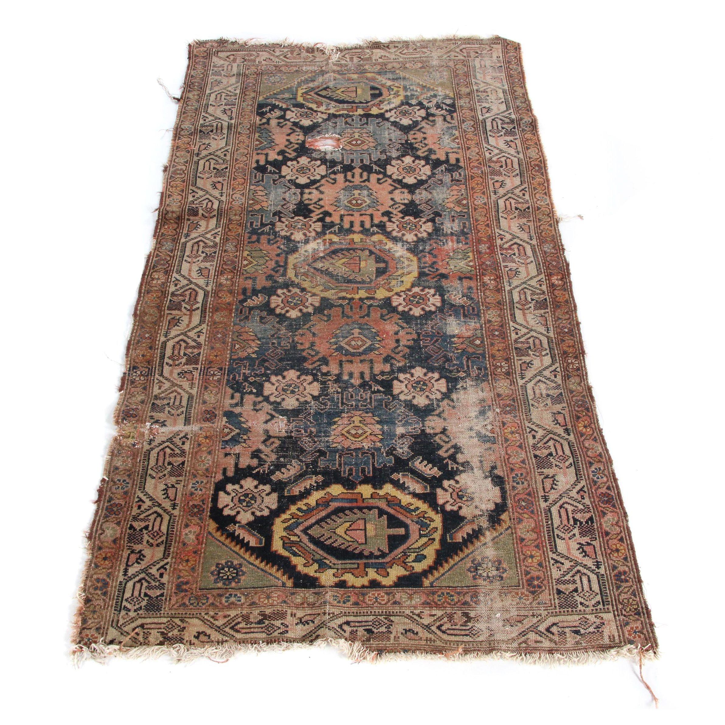 Semi-Antique Handwoven Caucasian Wool Area Rug