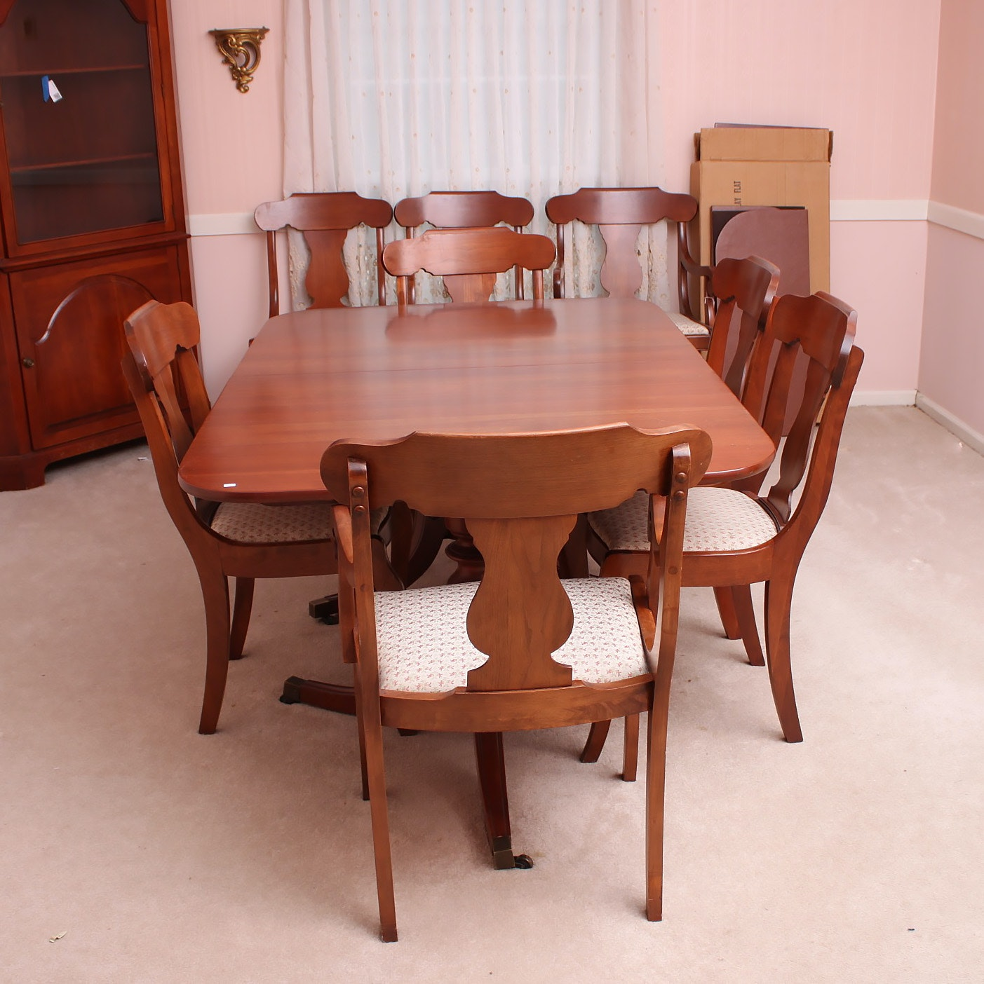 Vintage Cherry Dining Table with Empire Style Chairs