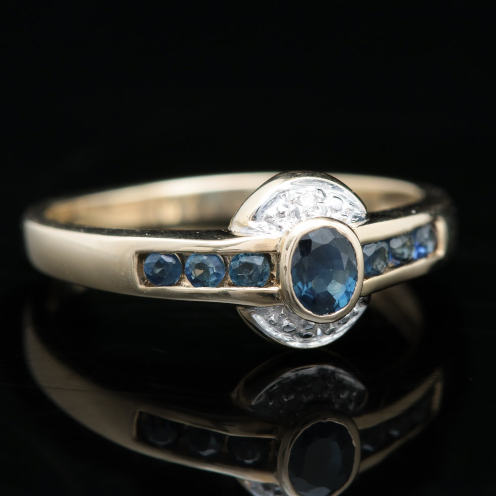 10K Yellow Gold, Blue Sapphire and Diamond Ring