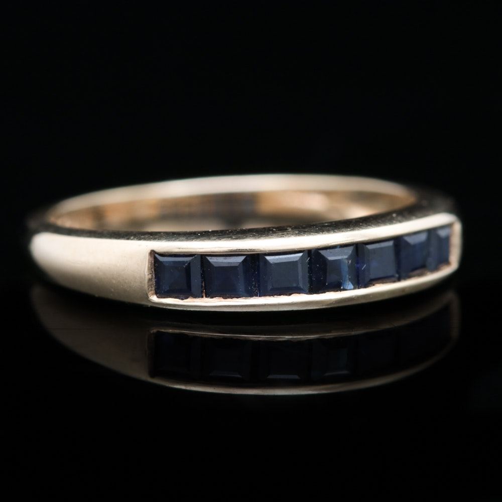 10K Yellow Gold and Blue Sapphire Band