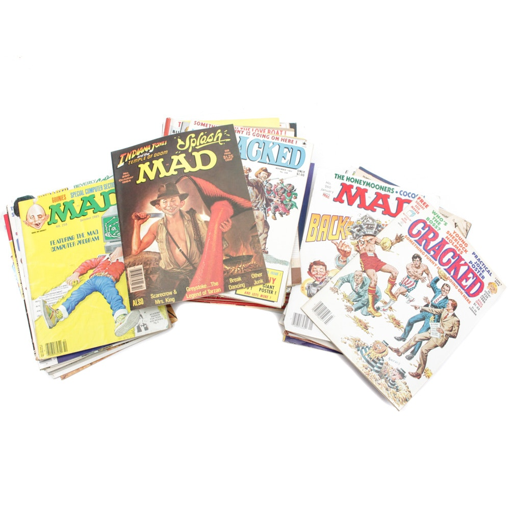 """Collection of Vintage """"Cracked"""" and """"MAD"""" Magazines"""