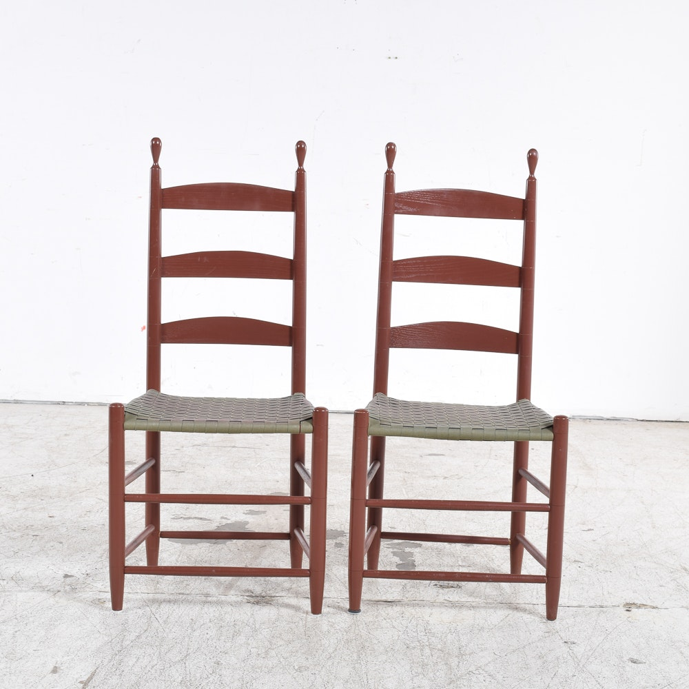 Pair Of Vintage Shaker Style Ladder Back Chairs ...