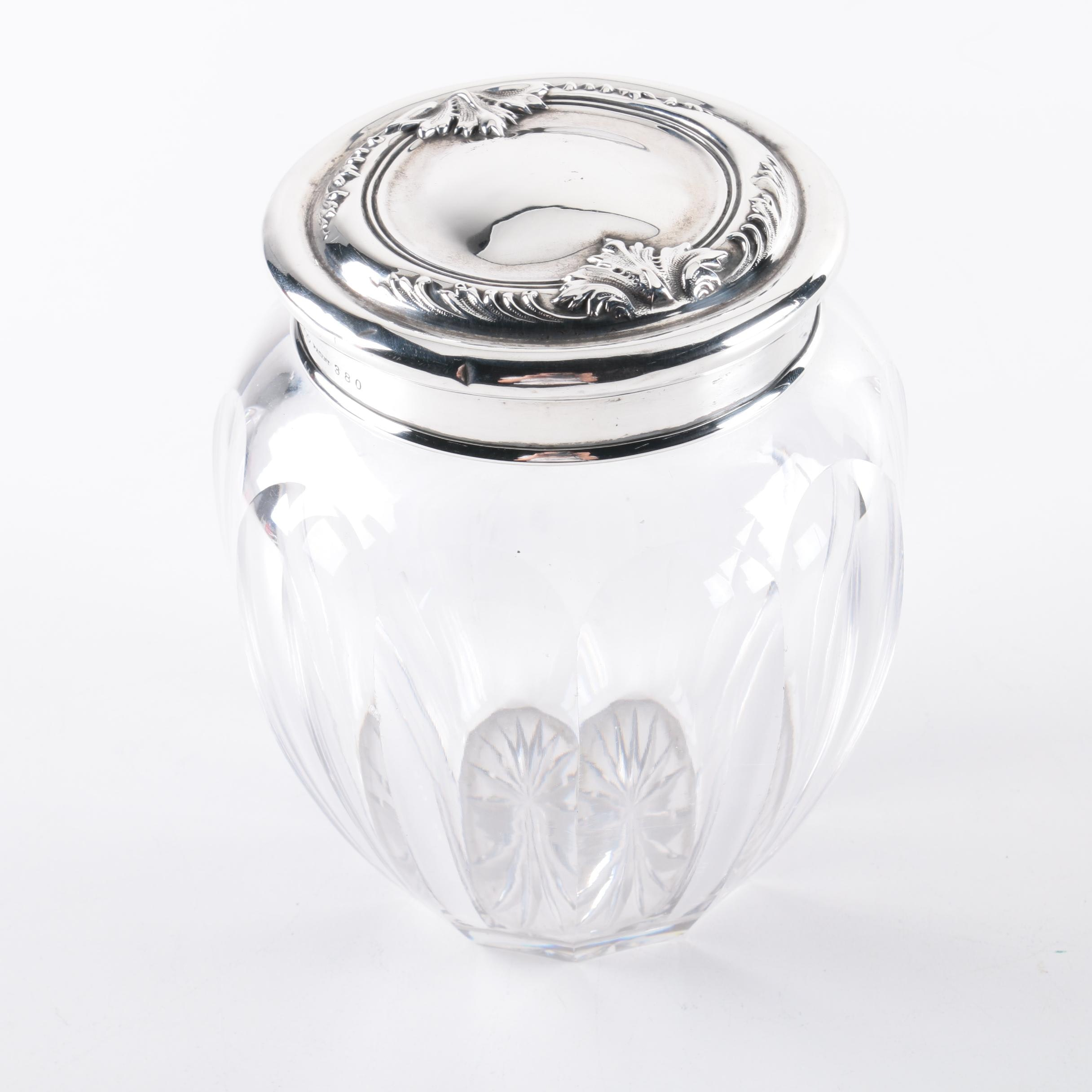 Dominick & Haff Sterling Silver and Glass Jar