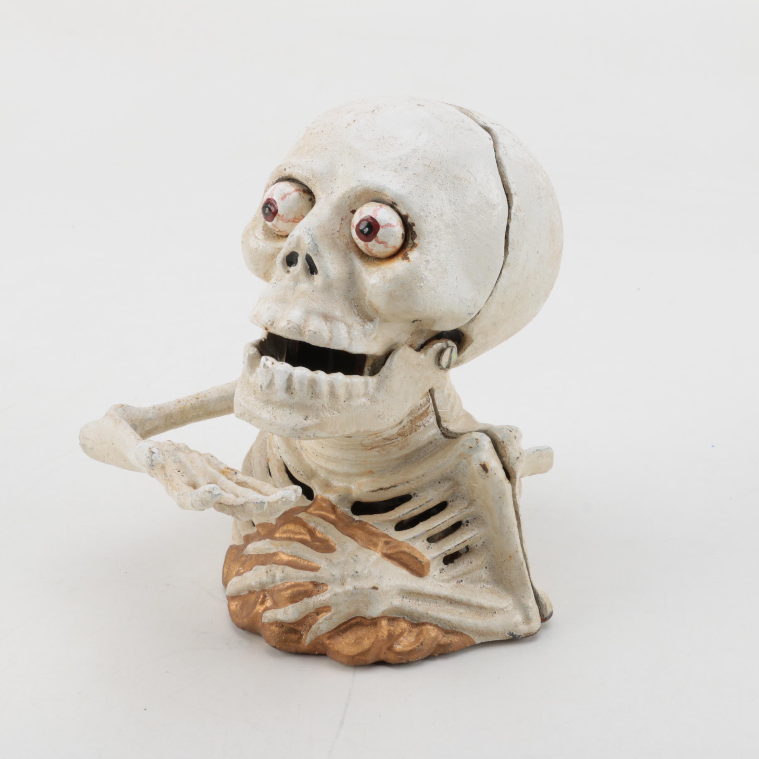 Vintage Cast Iron Mechanical Skeleton Bank
