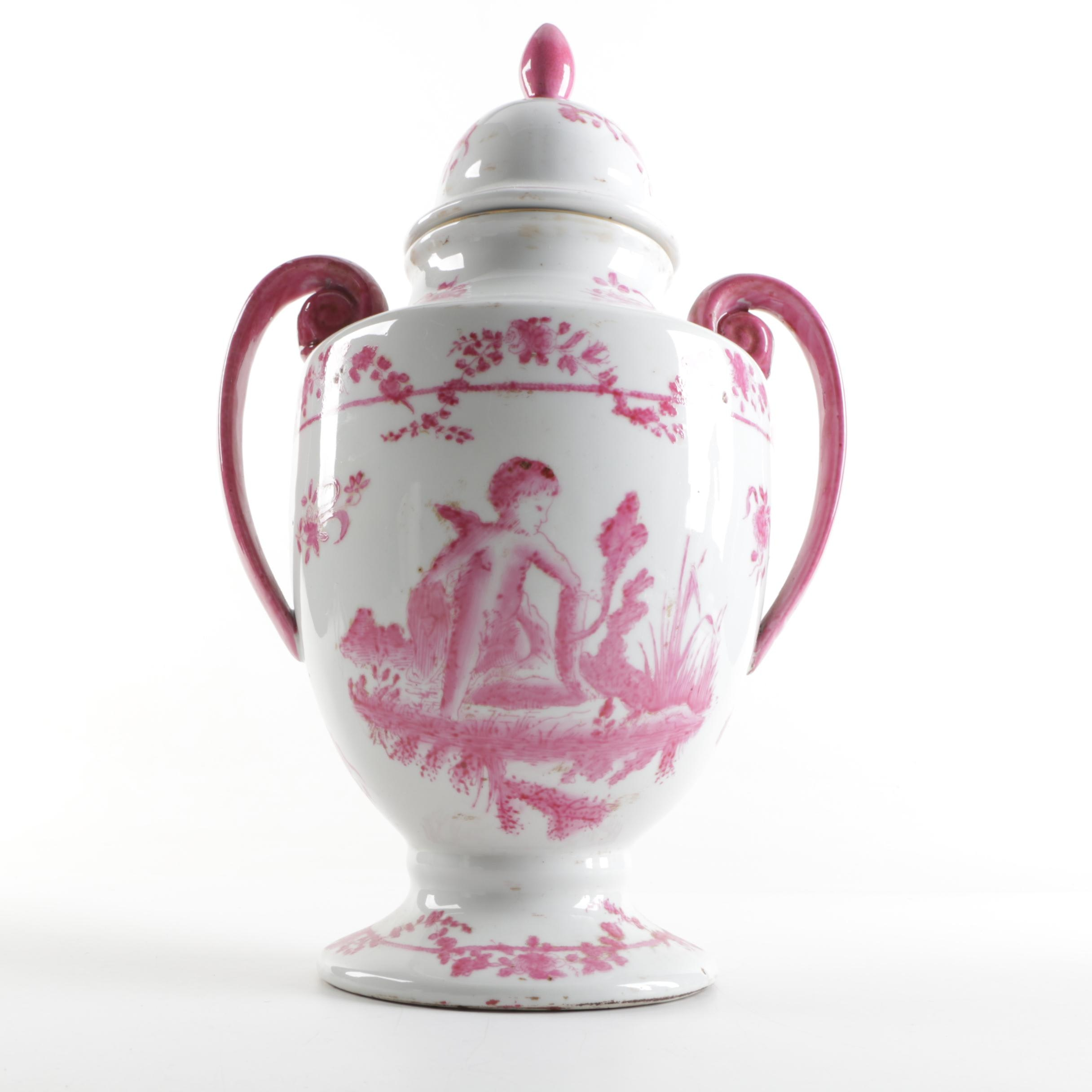 Pink Chinese Covered Urn