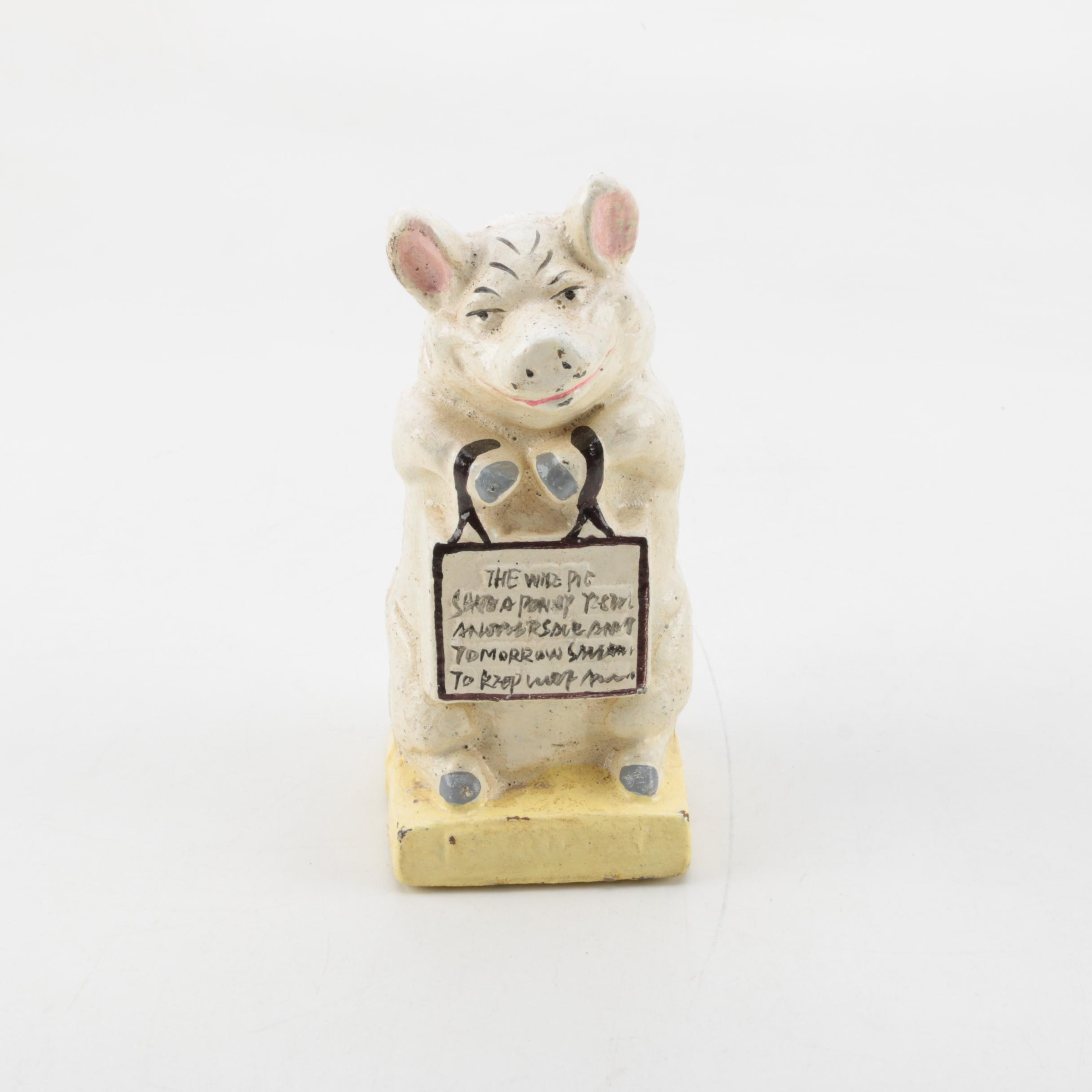 """Vintage Cast Iron """"Thrifty The Wise Pig"""" Piggy Bank"""
