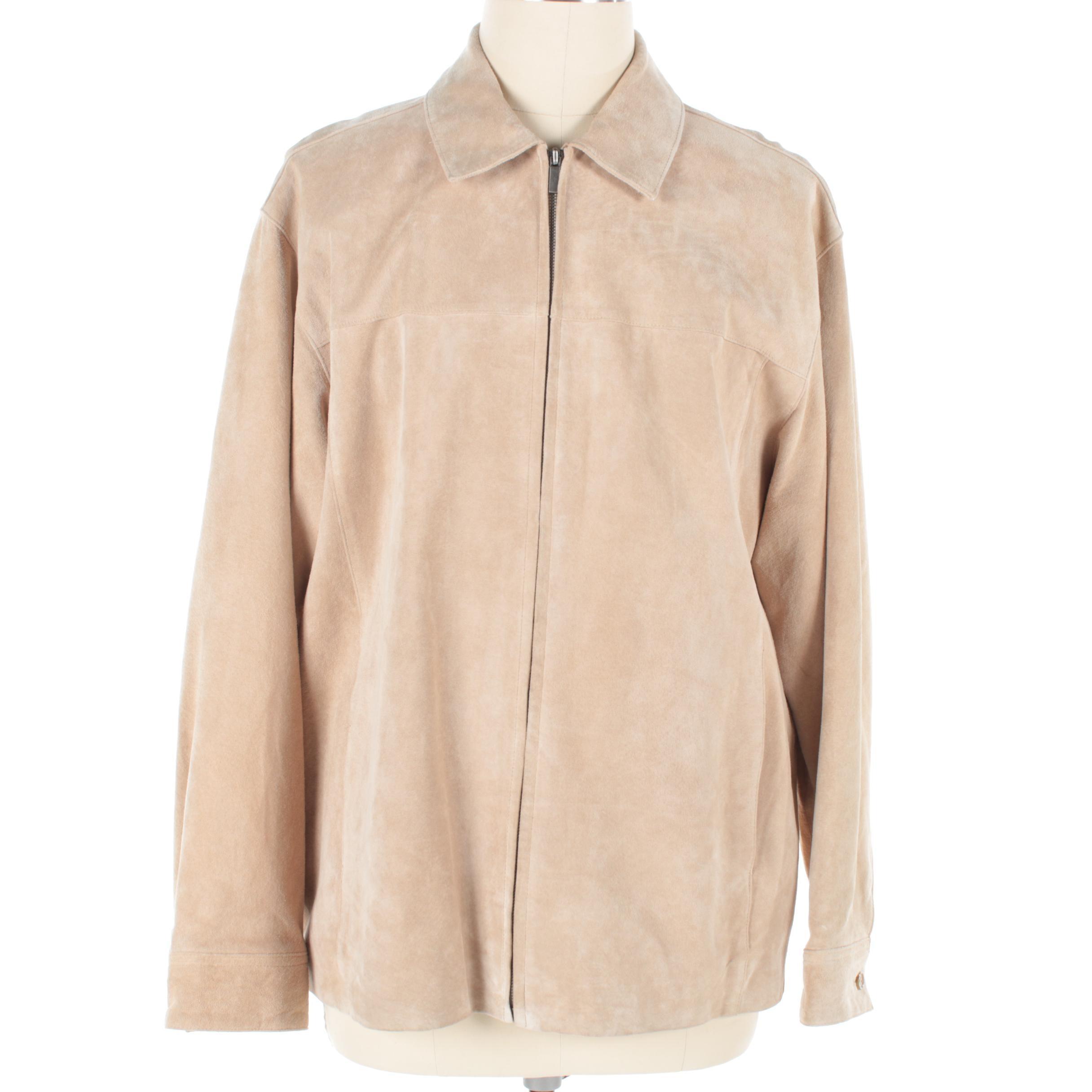 Men's Brandini Cream Suede Zip-Front Jacket
