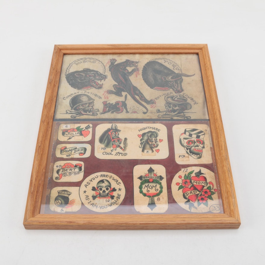 Vintage Framed Tattoo Flashes : EBTH