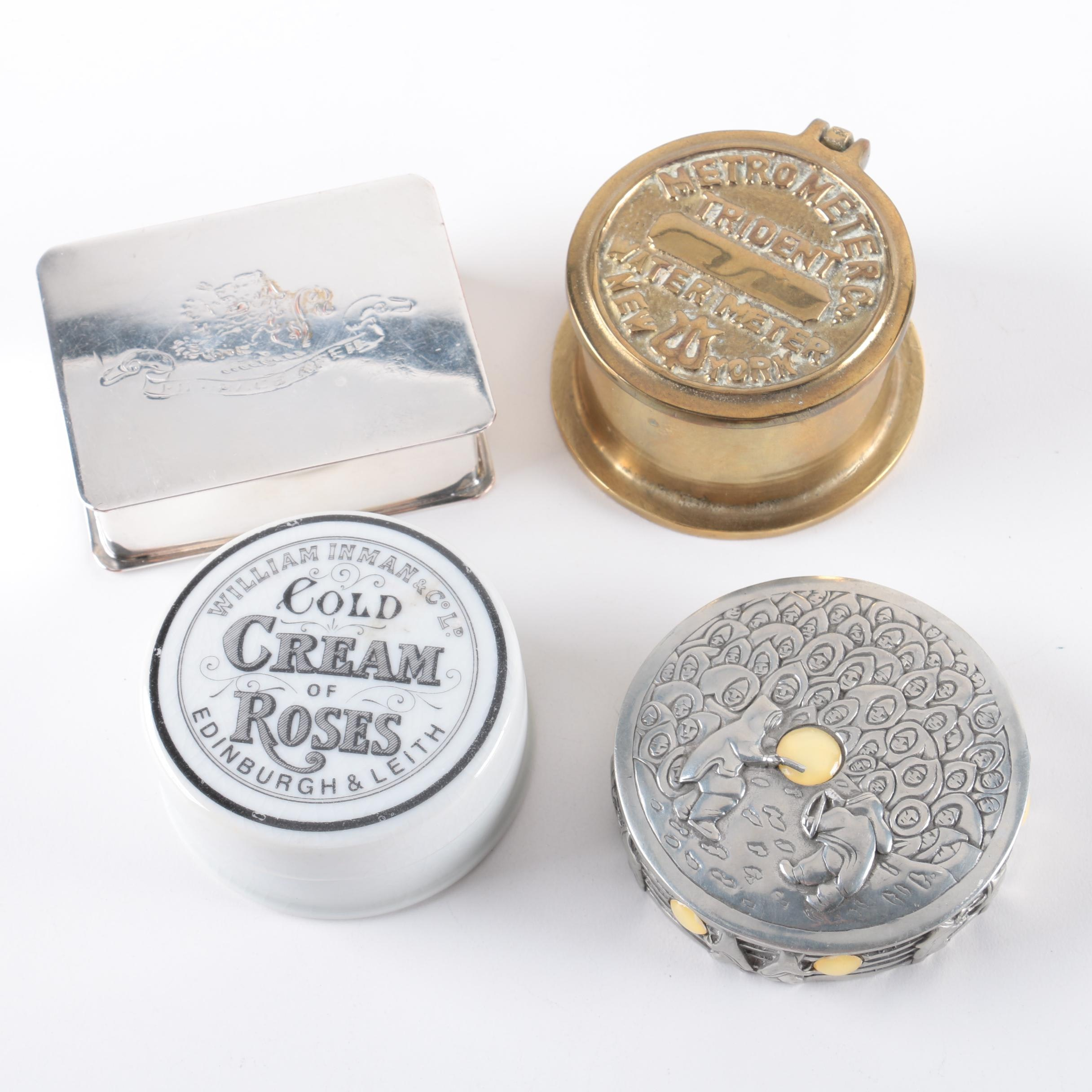 Containers and Trinket Boxes Including Cold Cream Jar