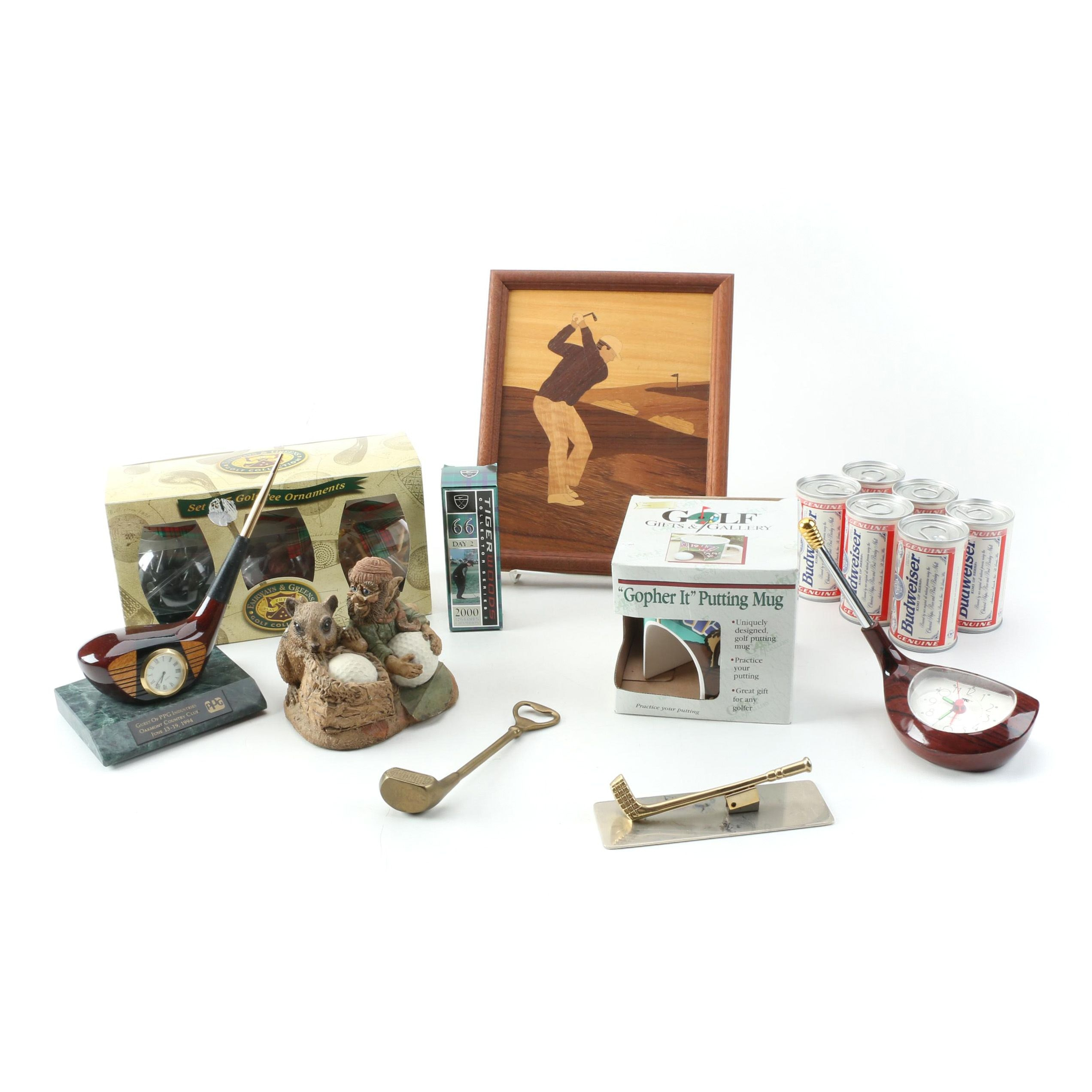 Golf Club Head Clock Paperweights, Bottle Openers, and Other Golf Collectibles
