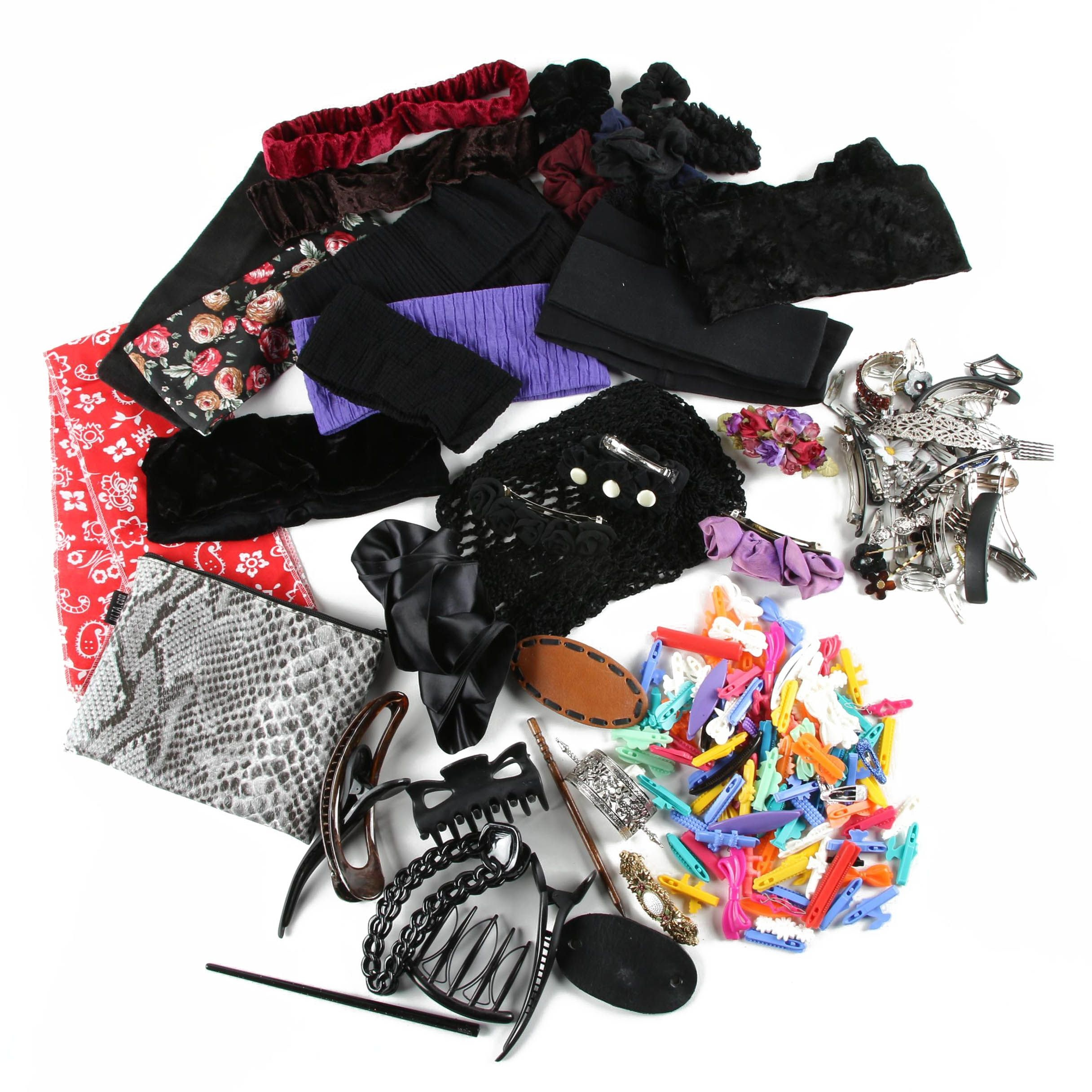 Large Assortment of Hair Accessories and Ulta Cosmetic Bag