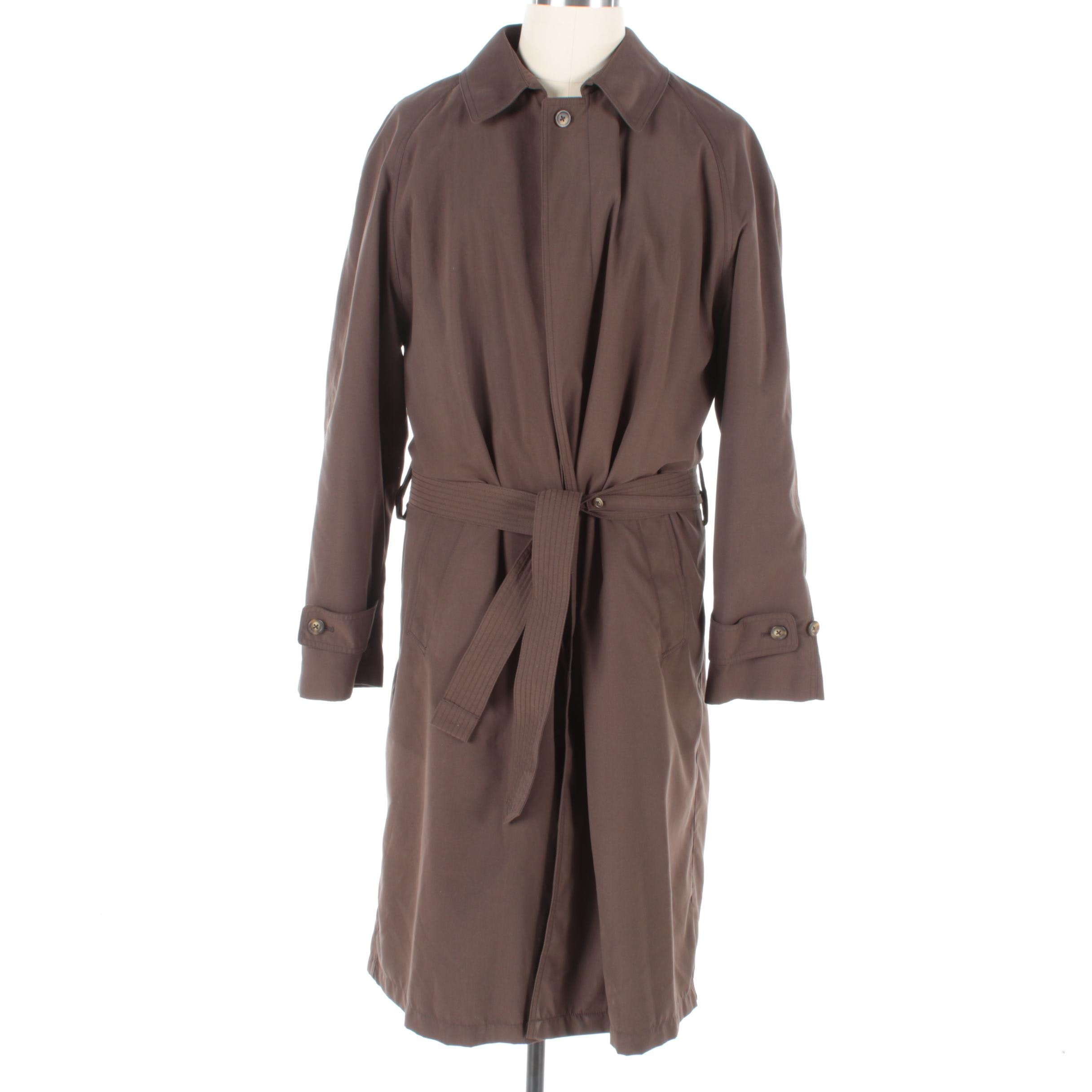 Men's Turnbury Brown Polyester Trench Coat with Removable Wool Blend Liner