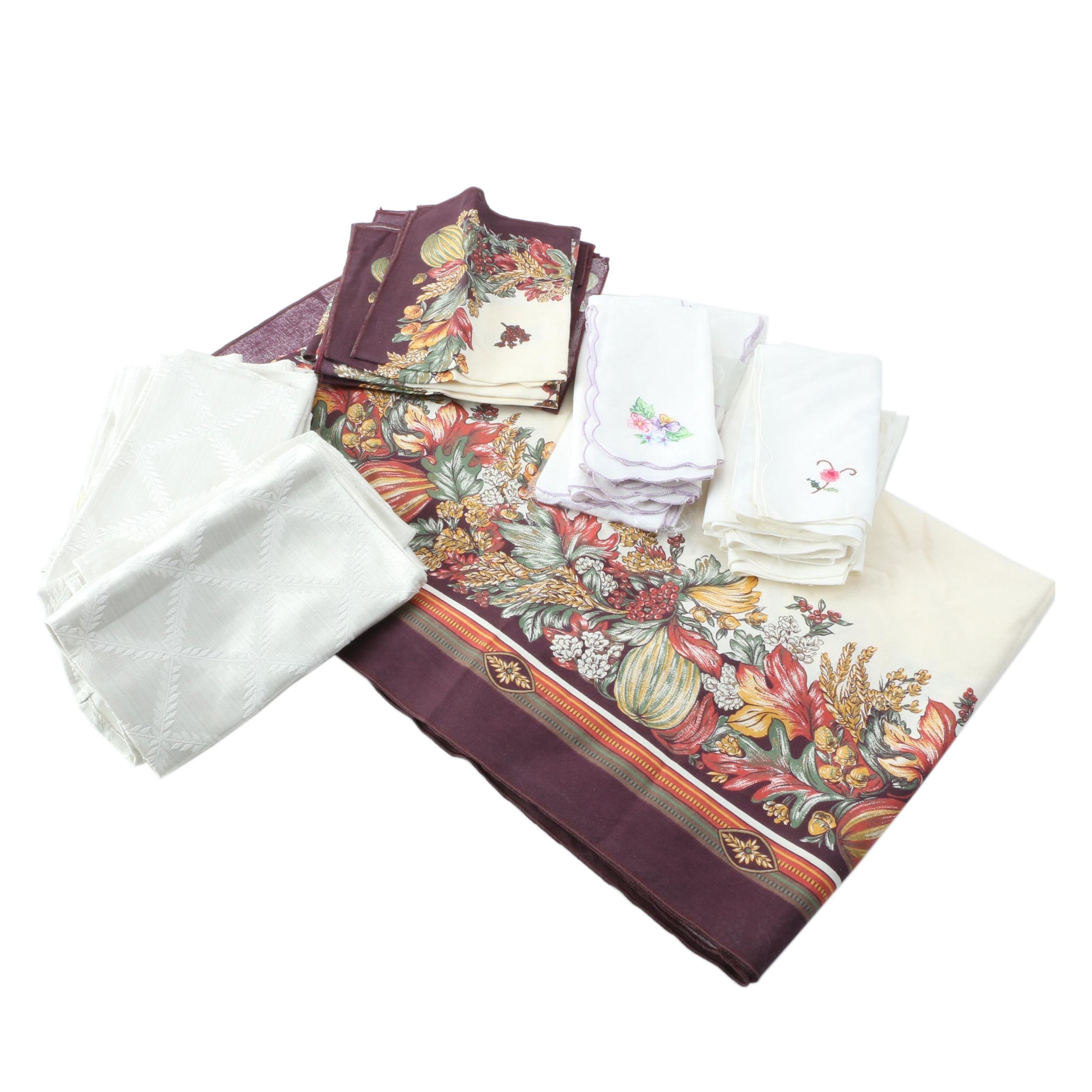 Table Linens Including Autumn Print Tablecloth Set and Embroidered Napkins