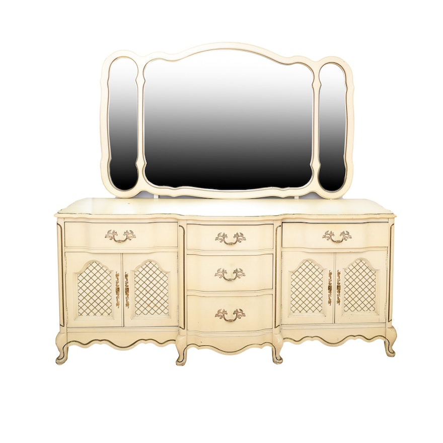 Vintage French Provincial Style Dresser And Mirror By Bett Furniture