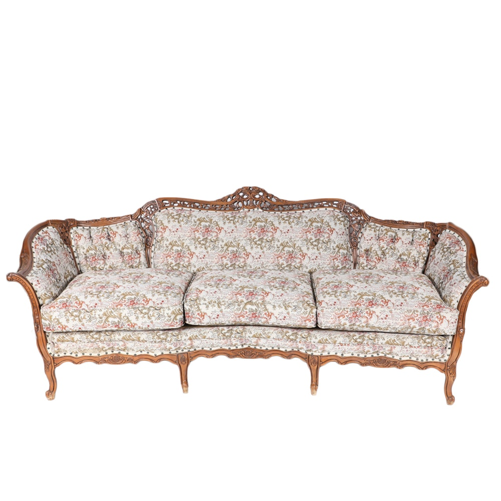Vintage Rococo Style Carved Sofa