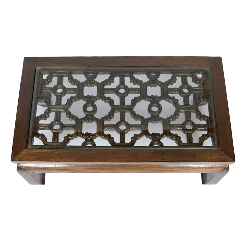Asian Style Carved Elm Coffee Table