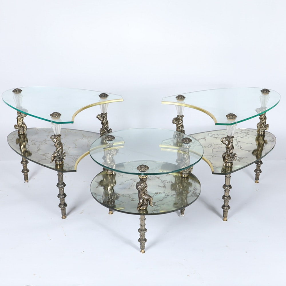 Hollywood Regency Style Glass and Mirror Three-Piece Coffee Table
