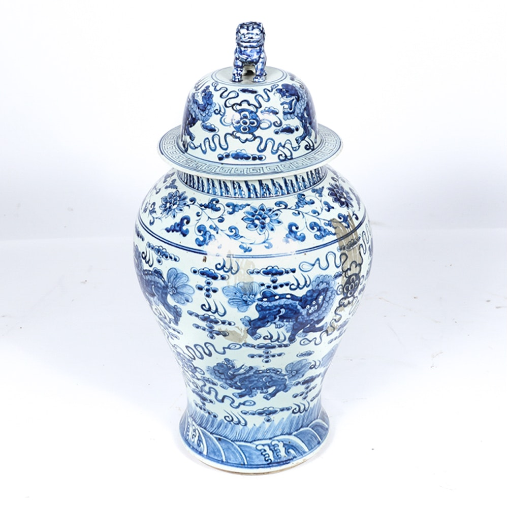 Chinese Cobalt and White Hand-Painted Urn