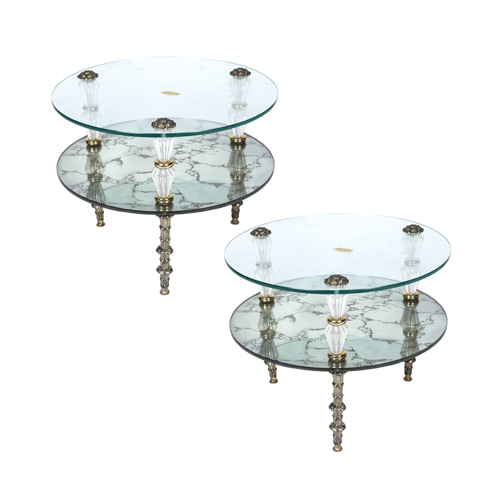 Hollywood Regency Style Glass and Mirror Side Table Pair