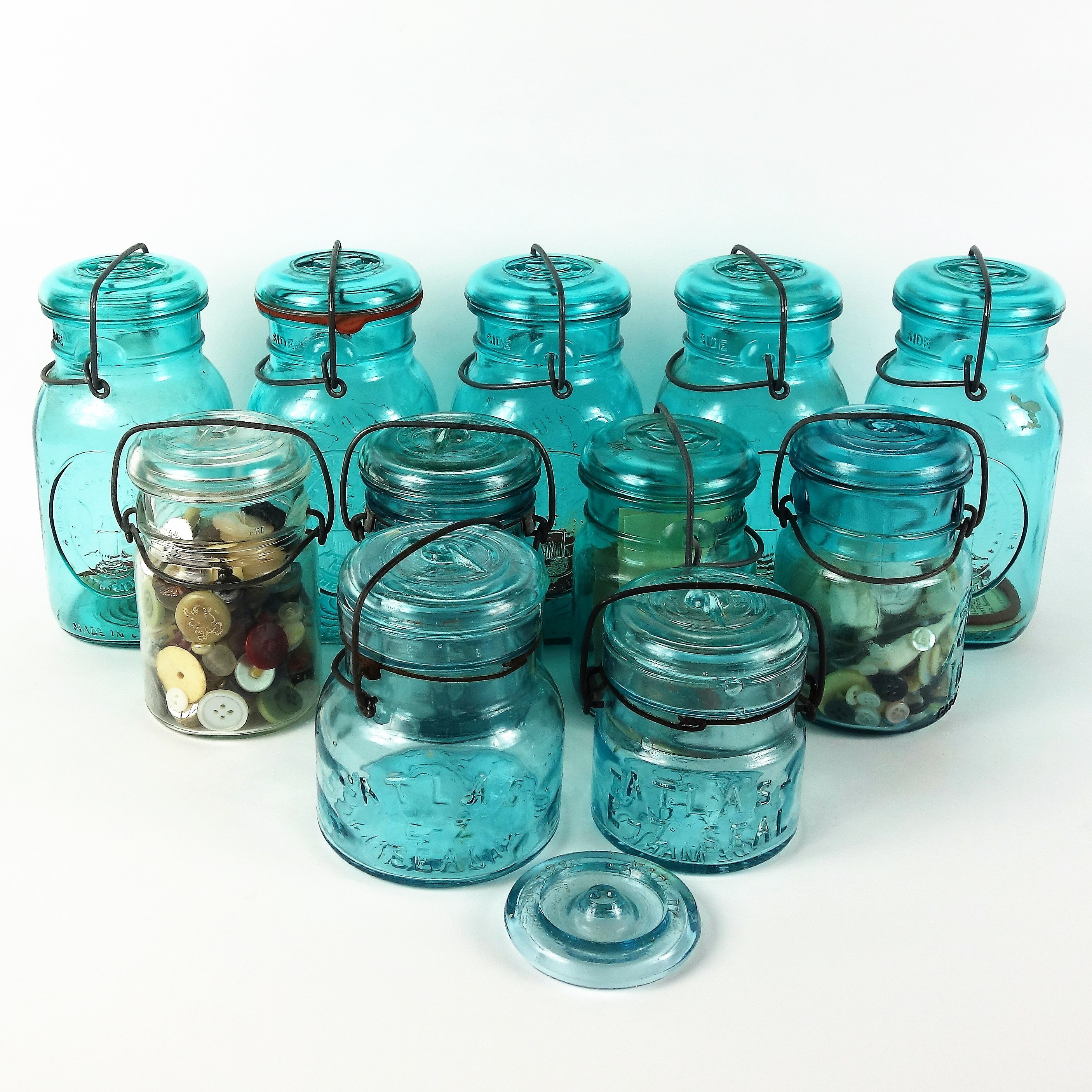 Collection of Blue Ball Mason and Atlas Canning Jars
