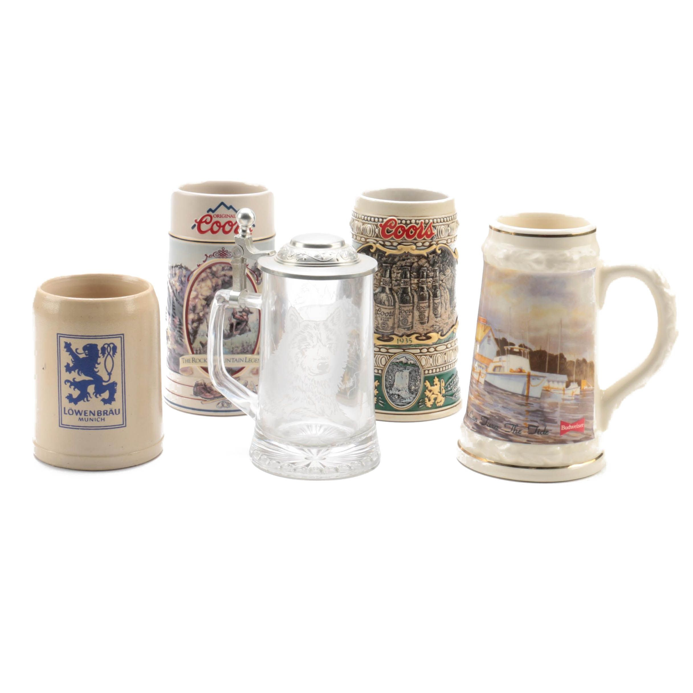 Coors and Budweiser Collector Steins