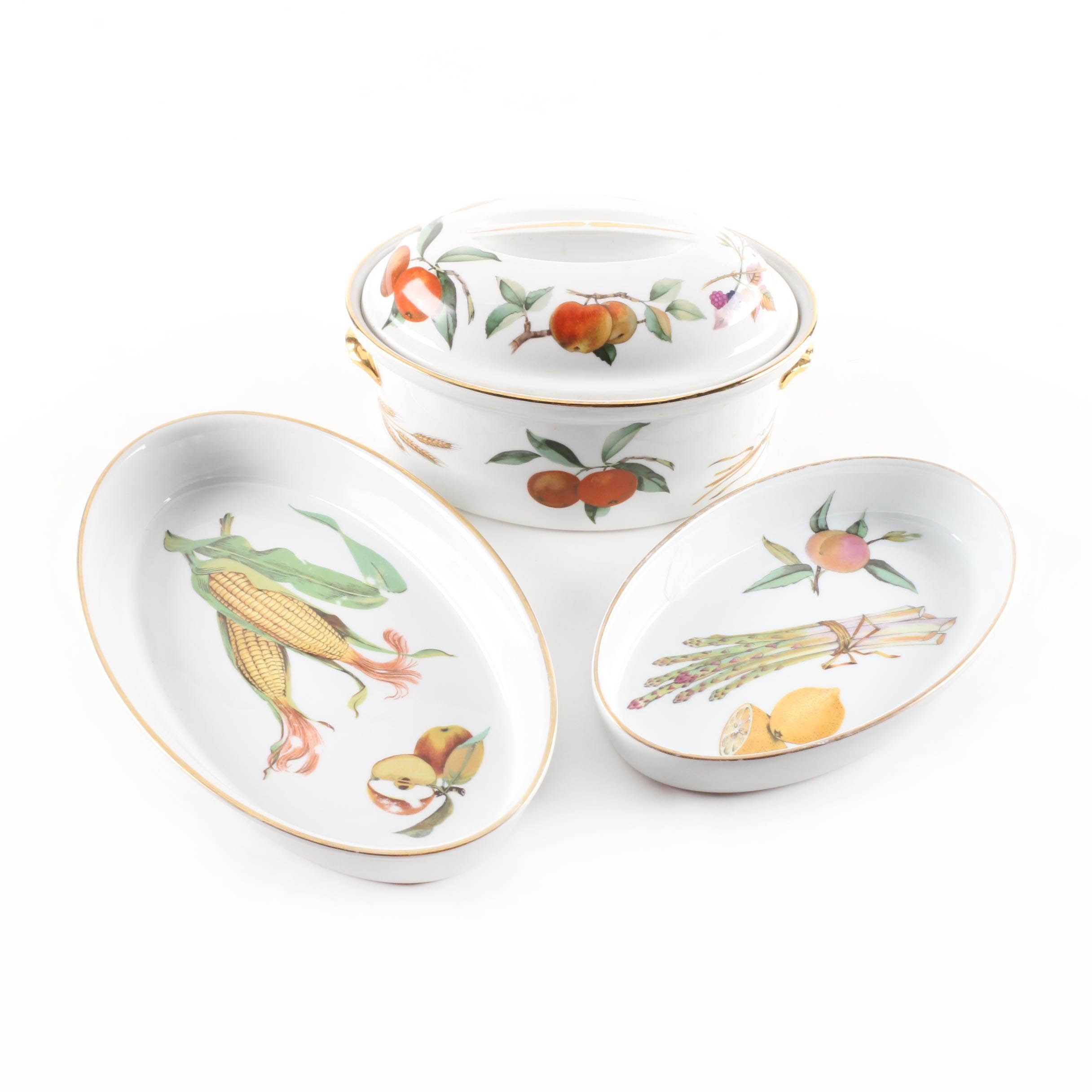 "Royal Worcester ""Evesham M"" Covered Casserole and Oval Baker"