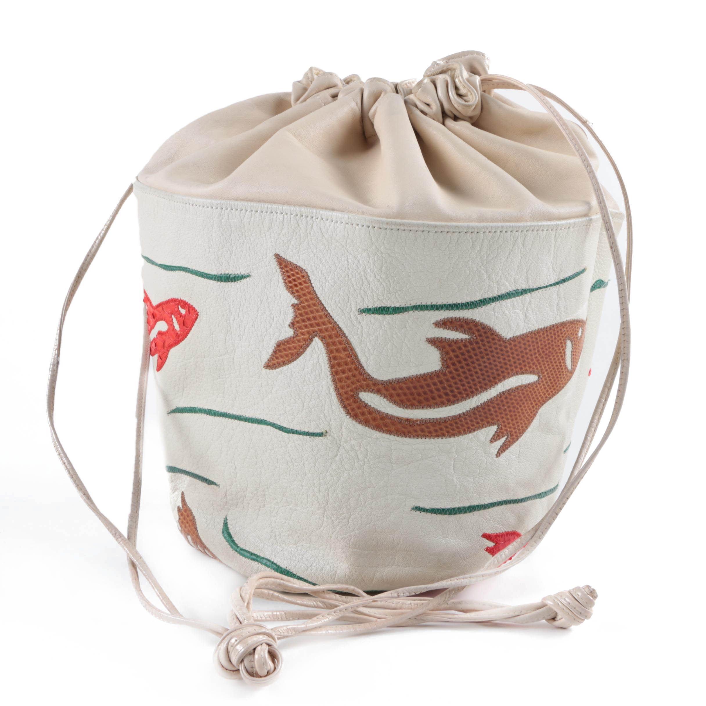 Vintage Carlos Falchi Leather Bucket Bag