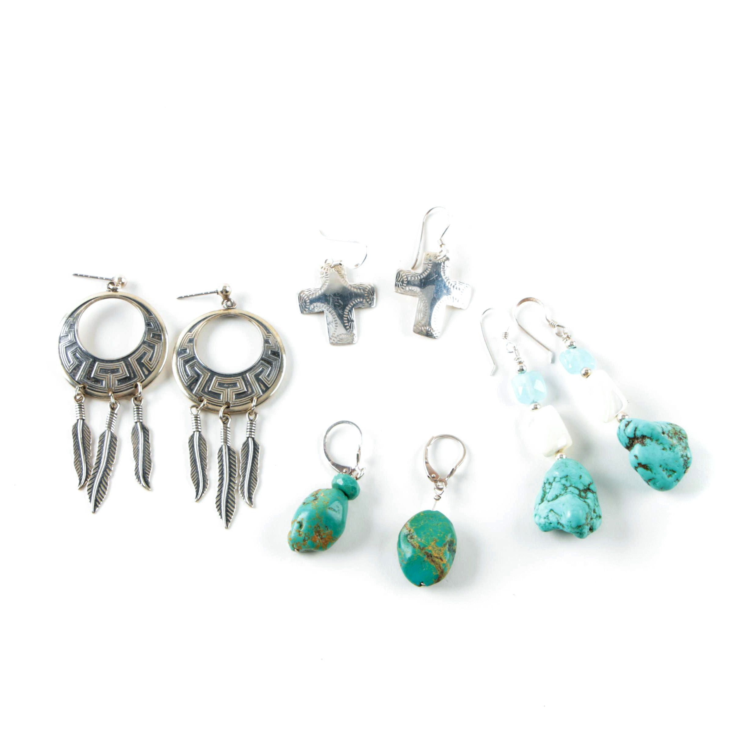 Southwest Style Sterling Silver and Gemstone Earrings