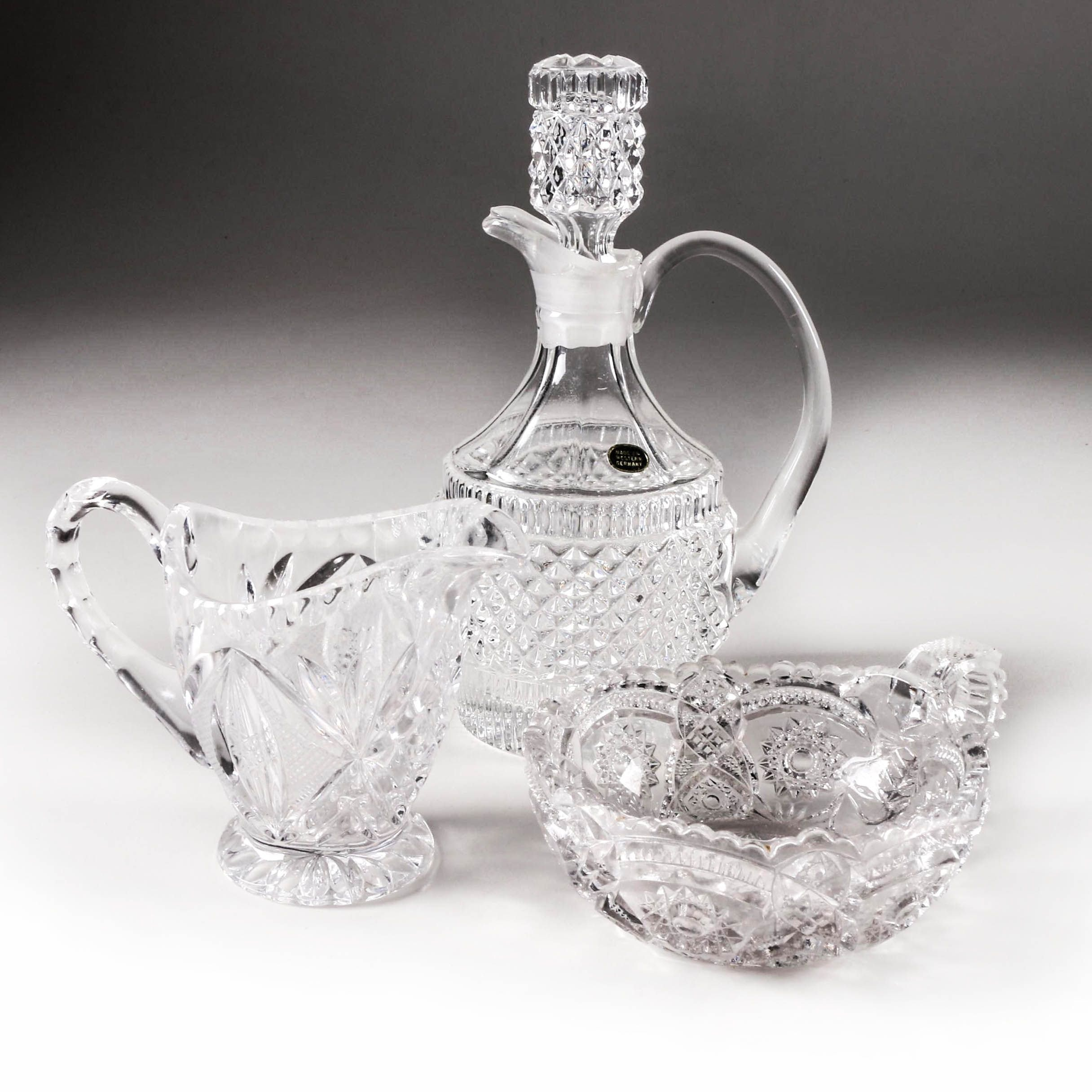 Collection of Three Pieces of Cut Glass Tableware