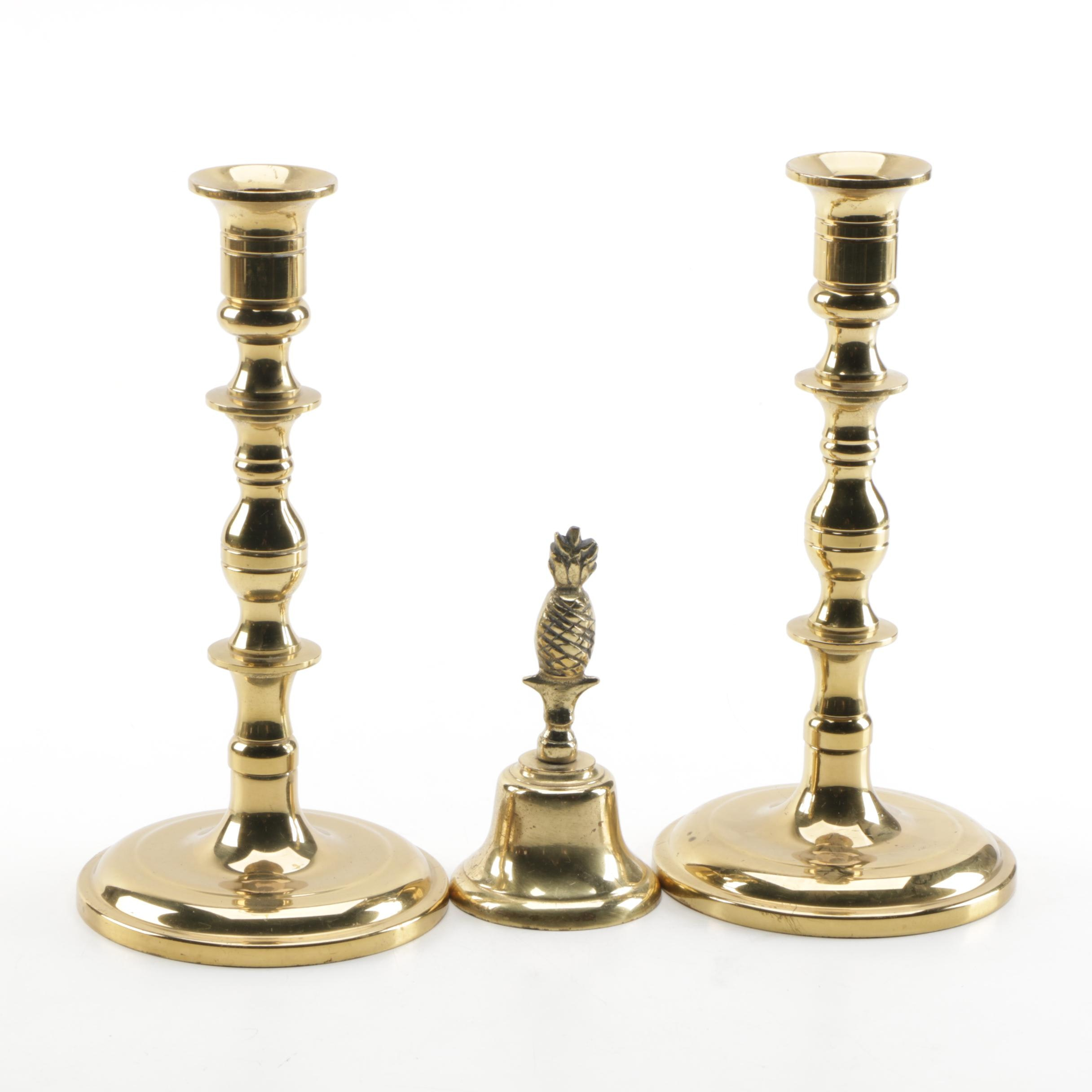 Brass Candlesticks and Pineapple Bell
