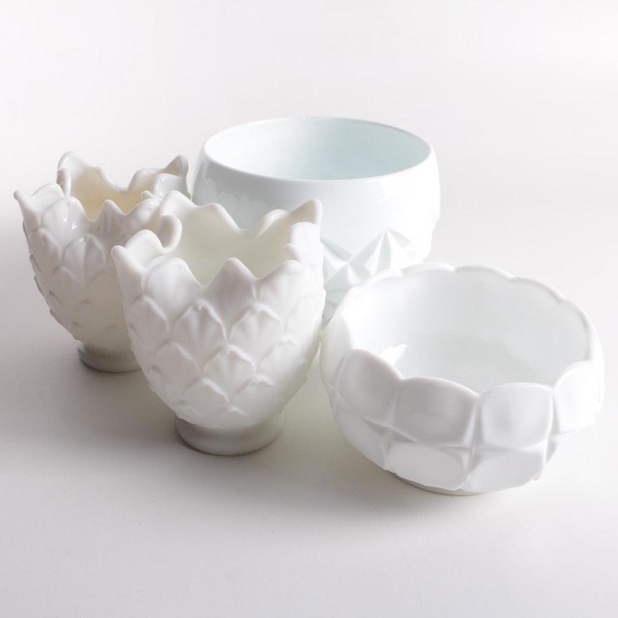 White Milk Glass Vases And Bowls Ebth