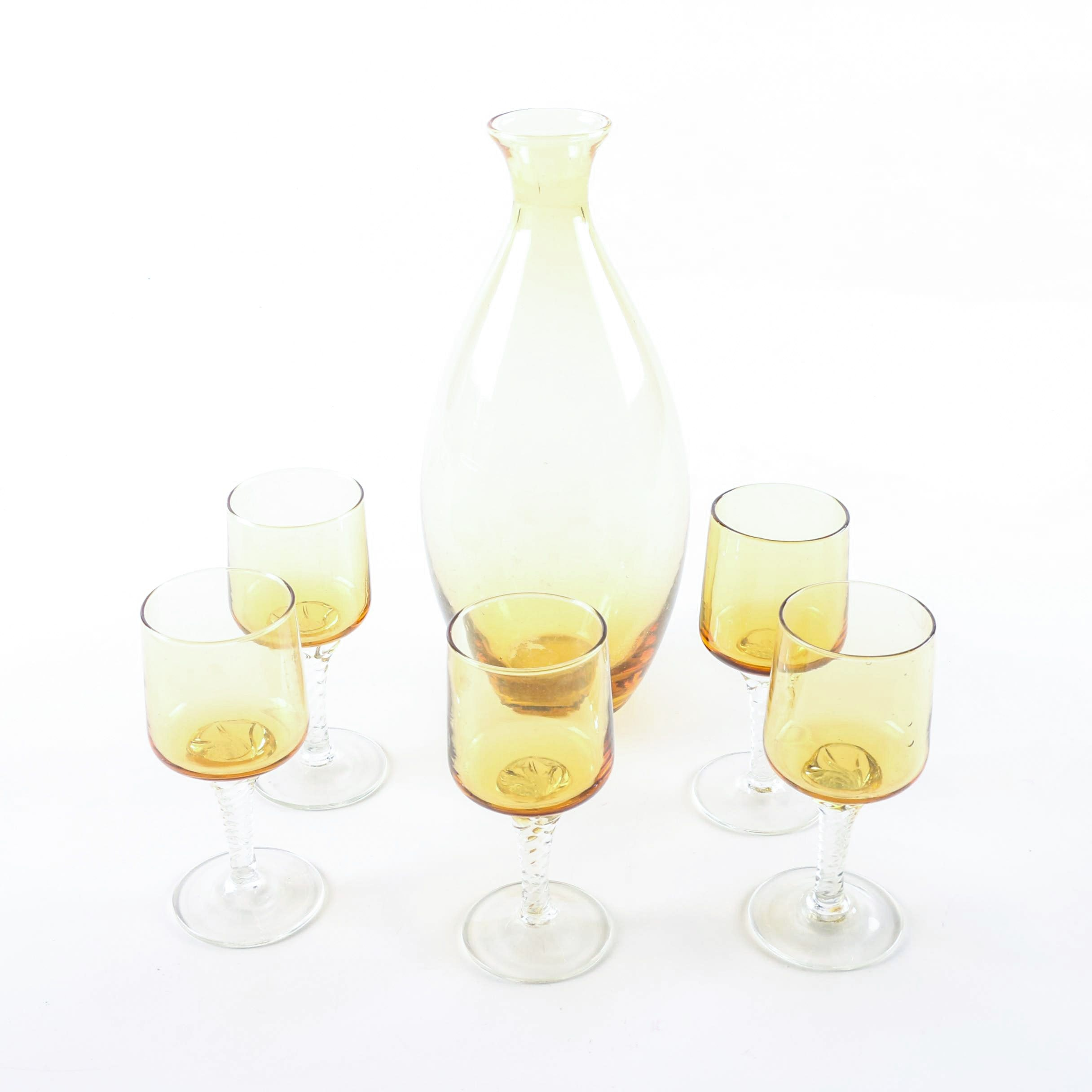 Amber Glass Decanter with Cordial Glasses