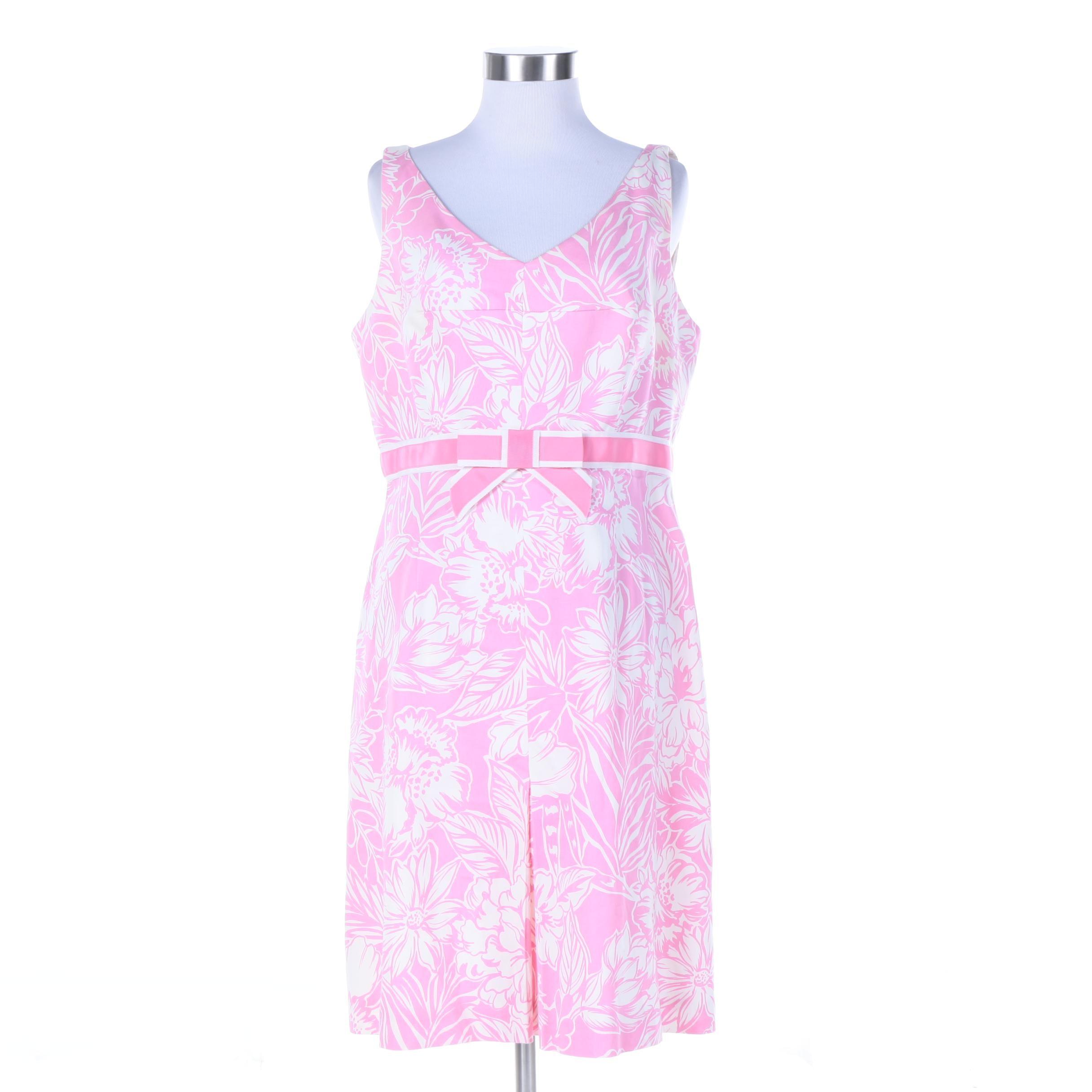 Rickie Freeman Teri Jon Pink Cotton Floral Print Sleeveless Dress