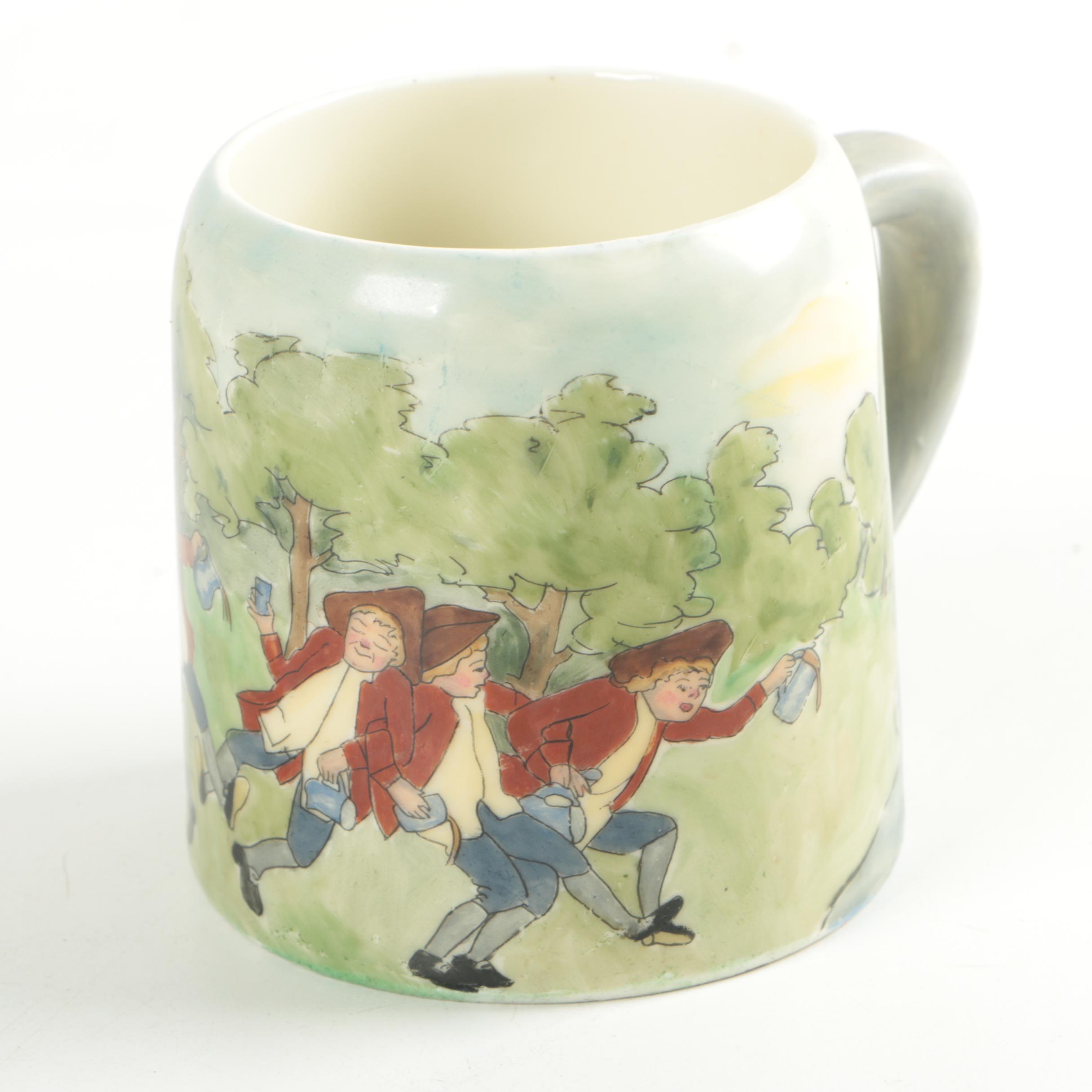1914 Hand-Painted Satire Mug Signed K. Stewart
