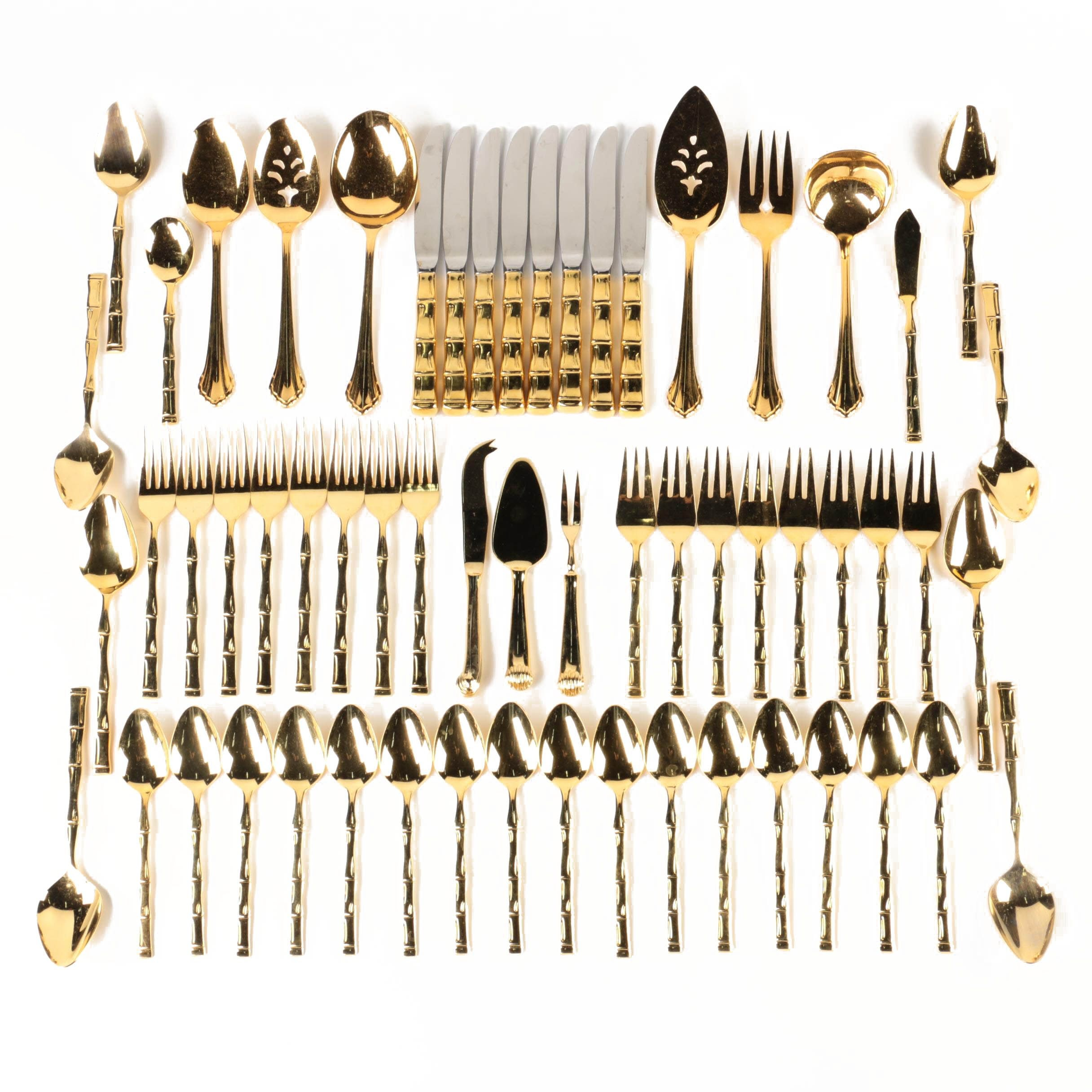 """Supreme by Towle """"Gold Bamboo"""" Stainless Steel Flatware and More"""