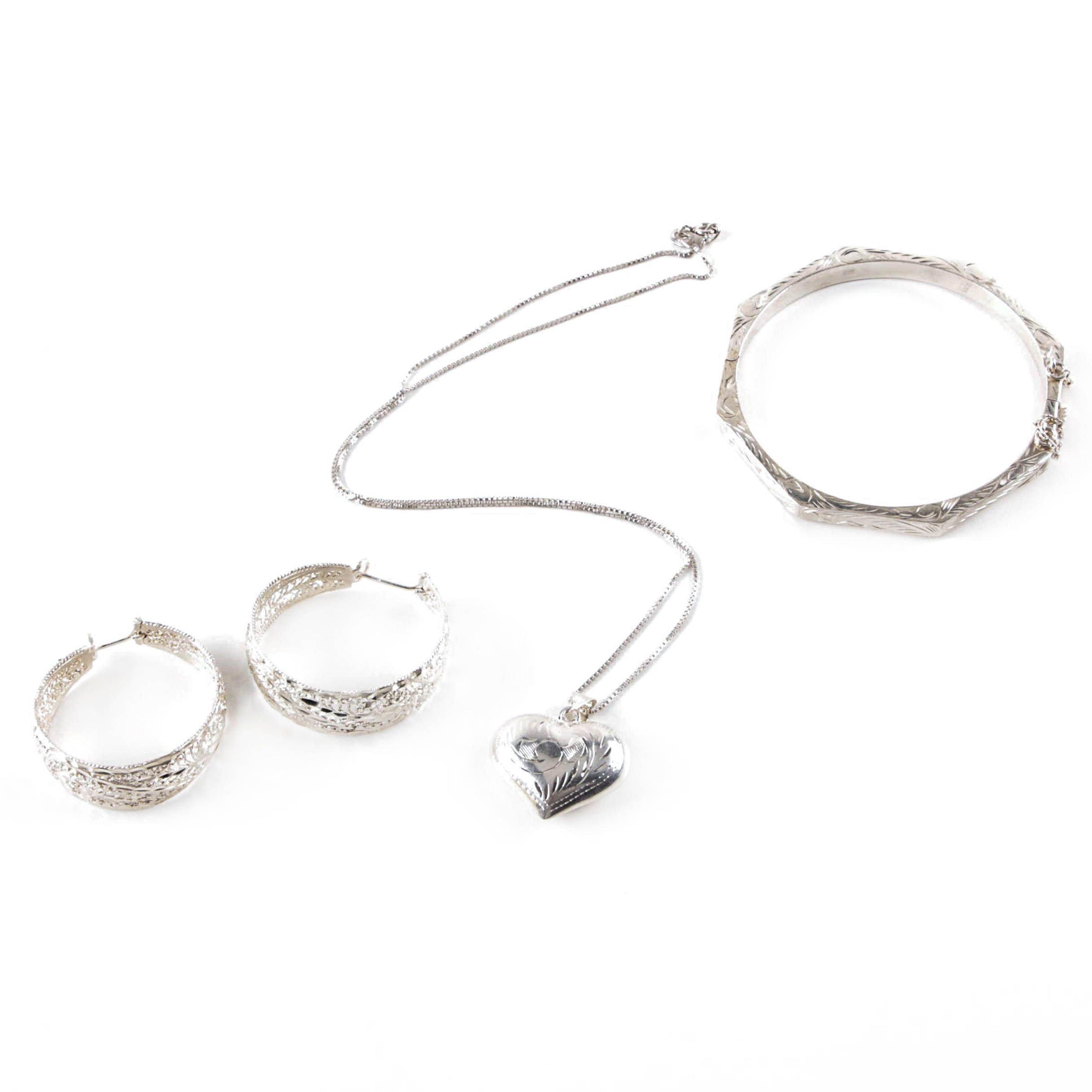 Sterlings Silver Heart Pendant Necklace, Hinged Bracelet and Hoop Earrings