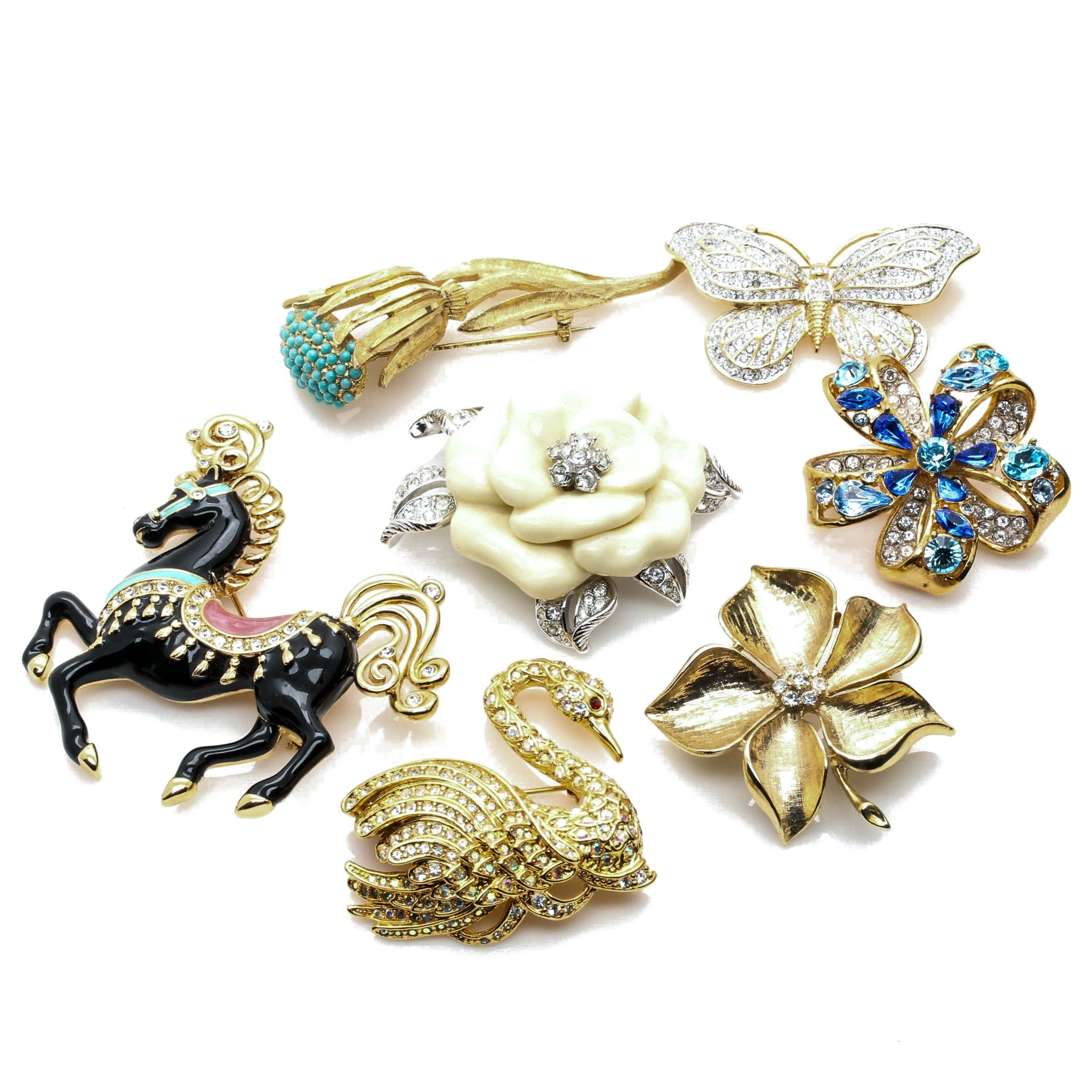 Gold Tone Glass and Enamel Brooches Including Bob Mackie and Nolan Miller