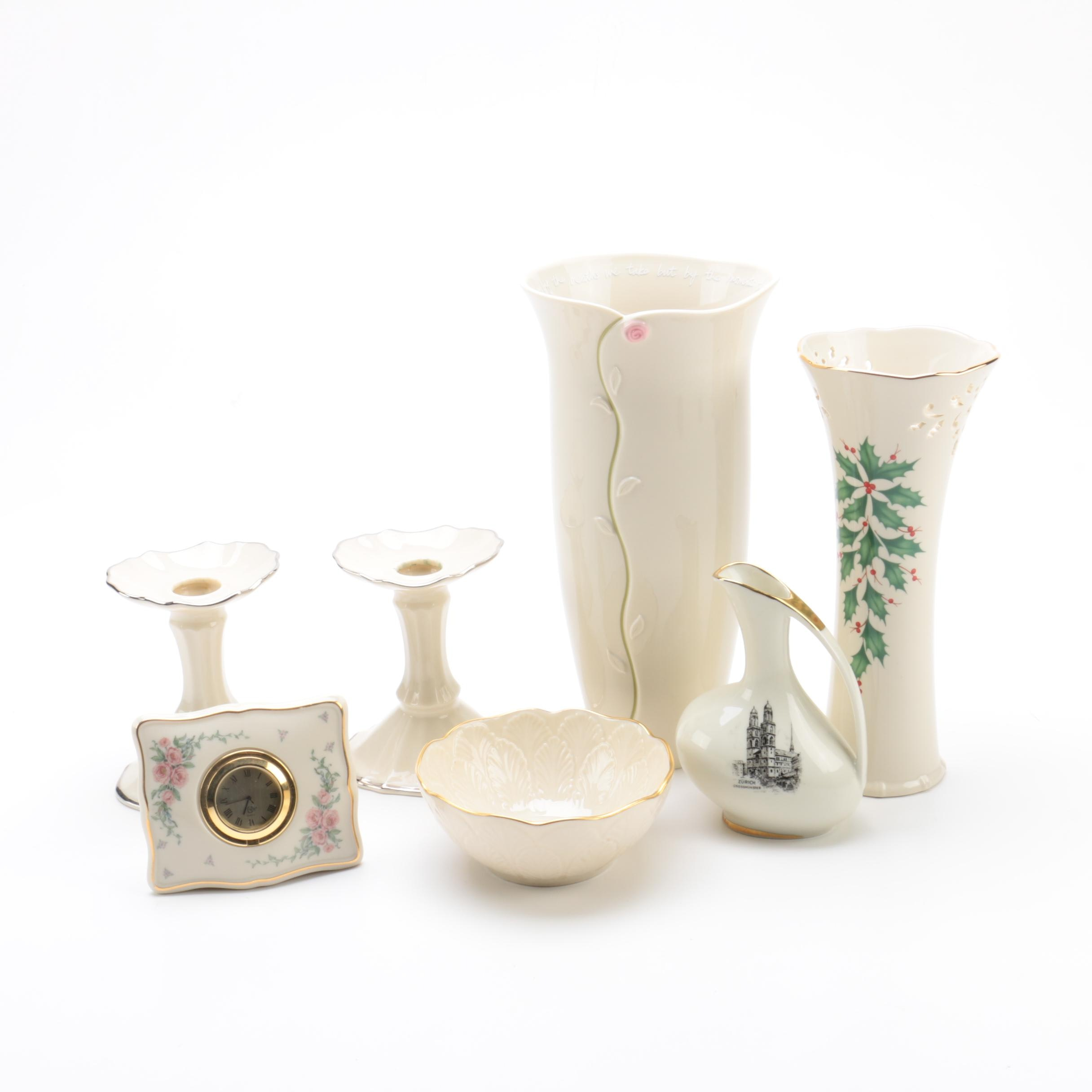 Lenox Porcelain Vases, Candle Holders and Clock