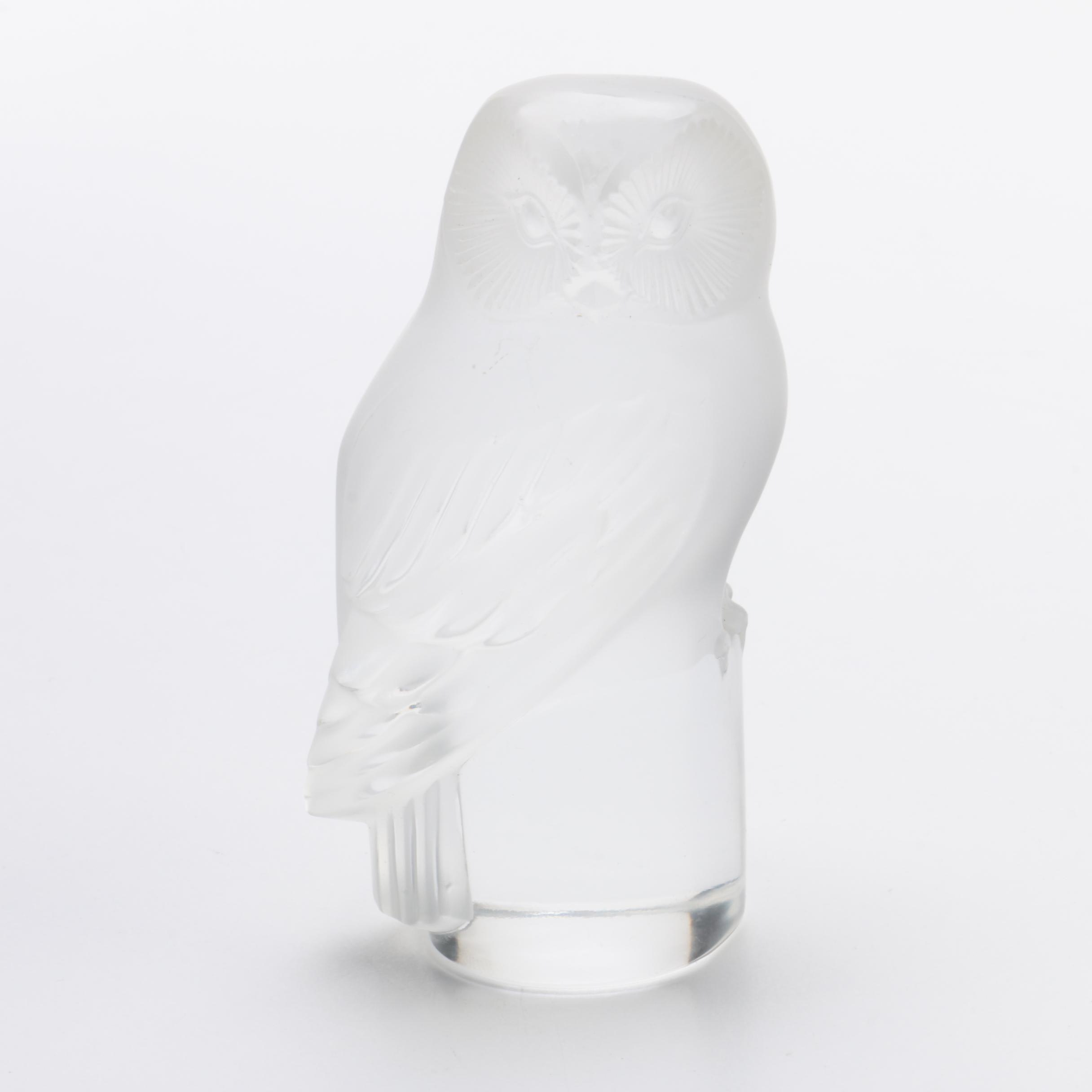 Lalique Crystal Owl Figurine