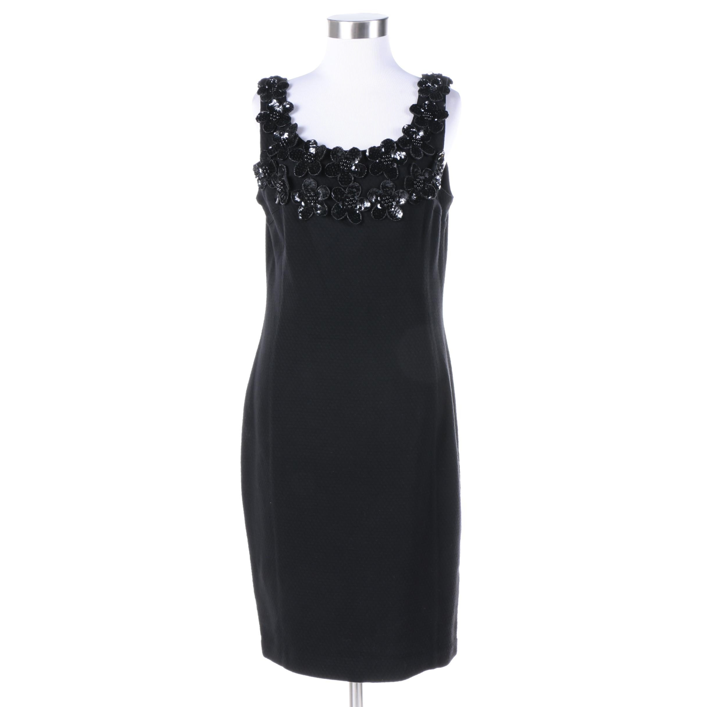 Adrienne Vittadini Black Dress with Beaded and Sequined Floral Appliqués