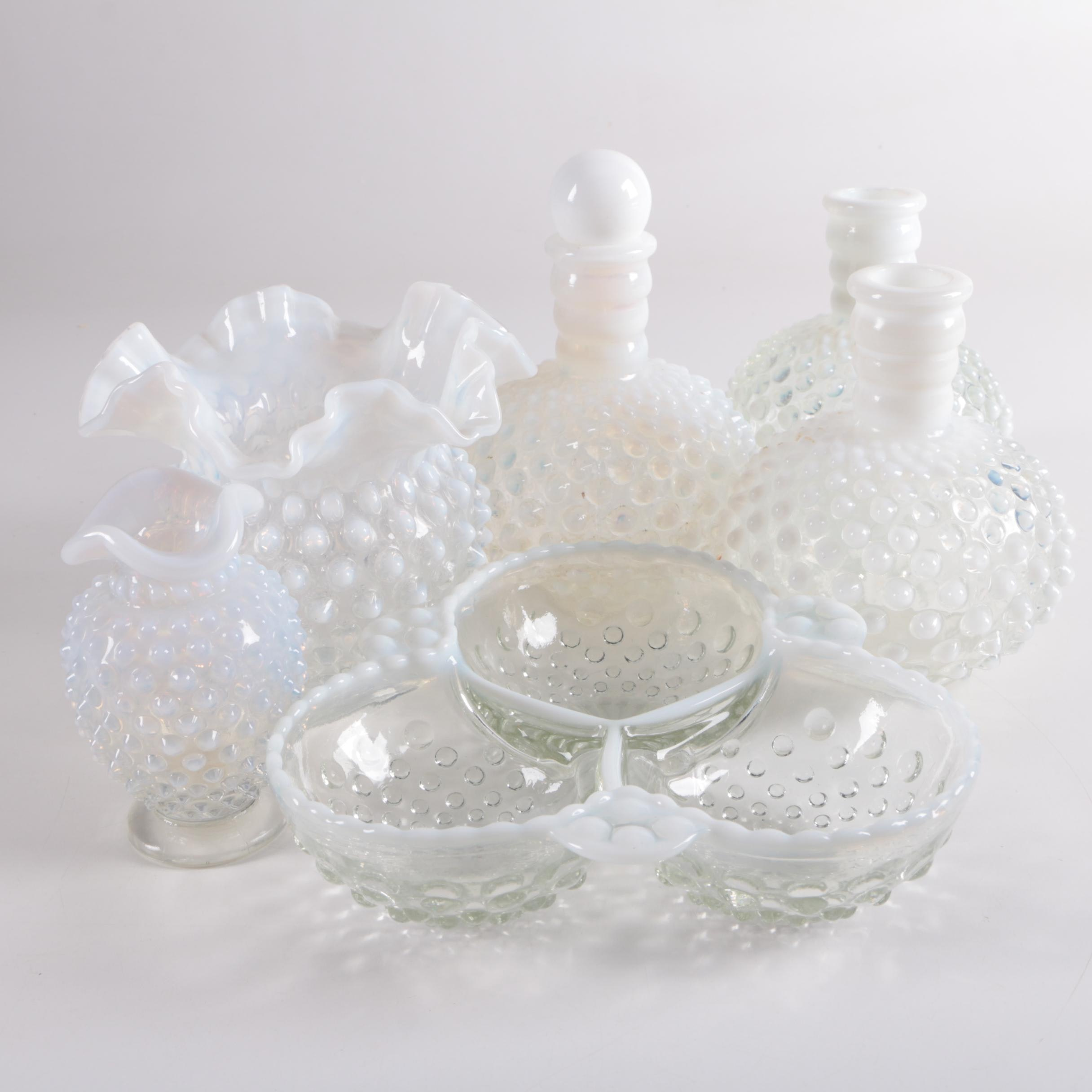 "Fenton ""Hobnail French Opalescent"" Serveware and Anchor Hocking ""Moonstone"" Dish"