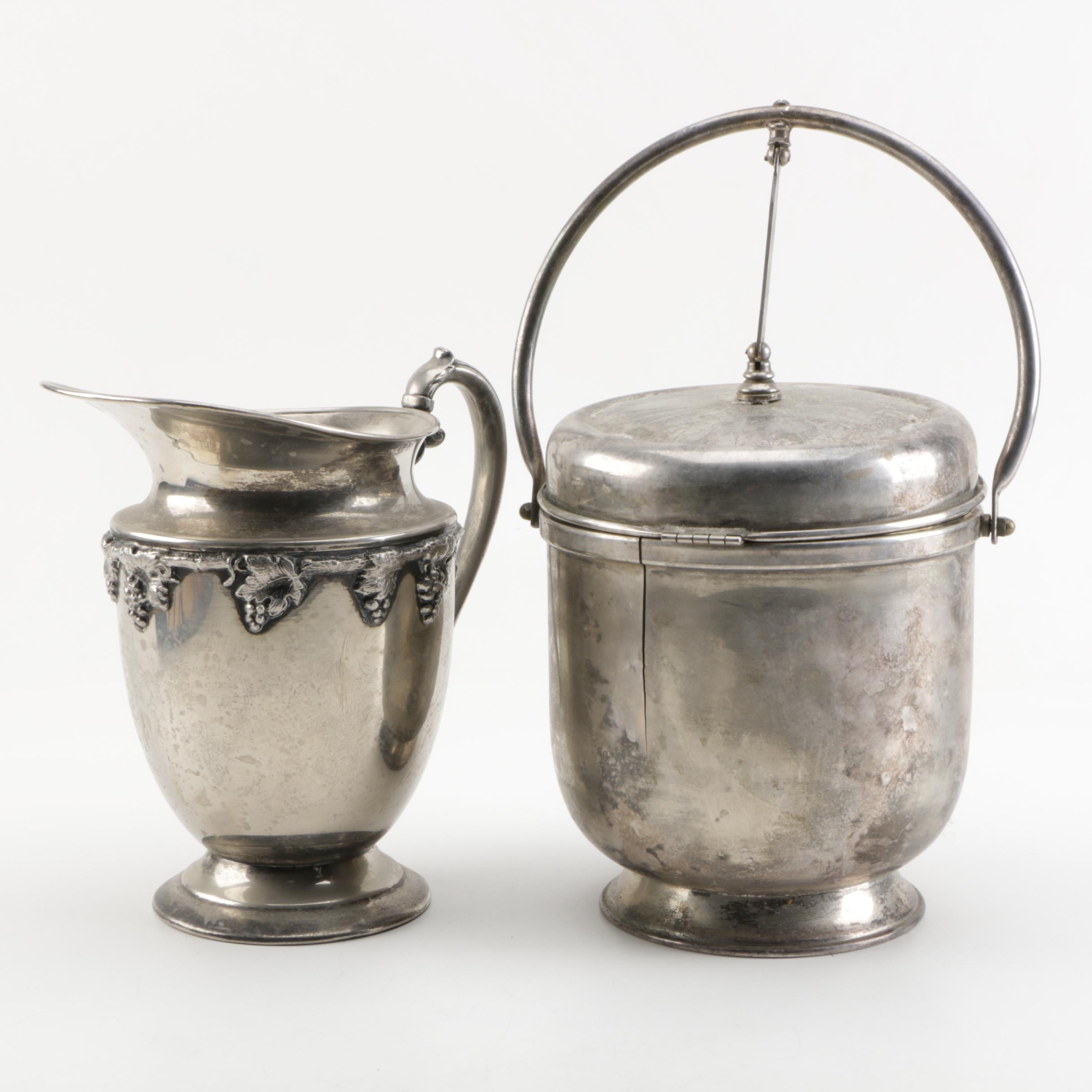 Lehman Brothers Silver Plate Pitcher and Ice Bucket Featuring Bar Utensils