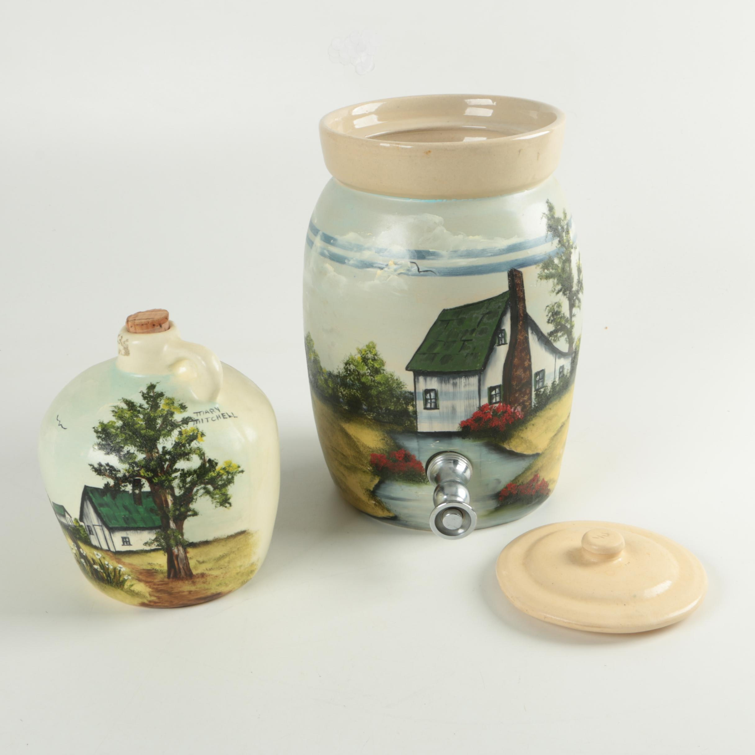 Mary Mitchell Hand Painted Stoneware Jug and Drink Dispenser