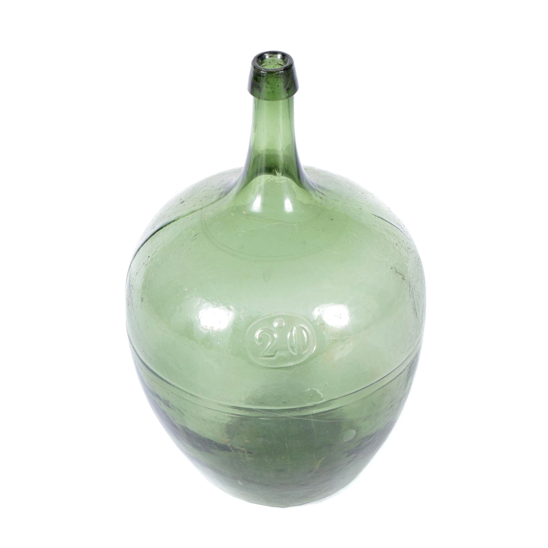 Antique French Green Glass Demijohn