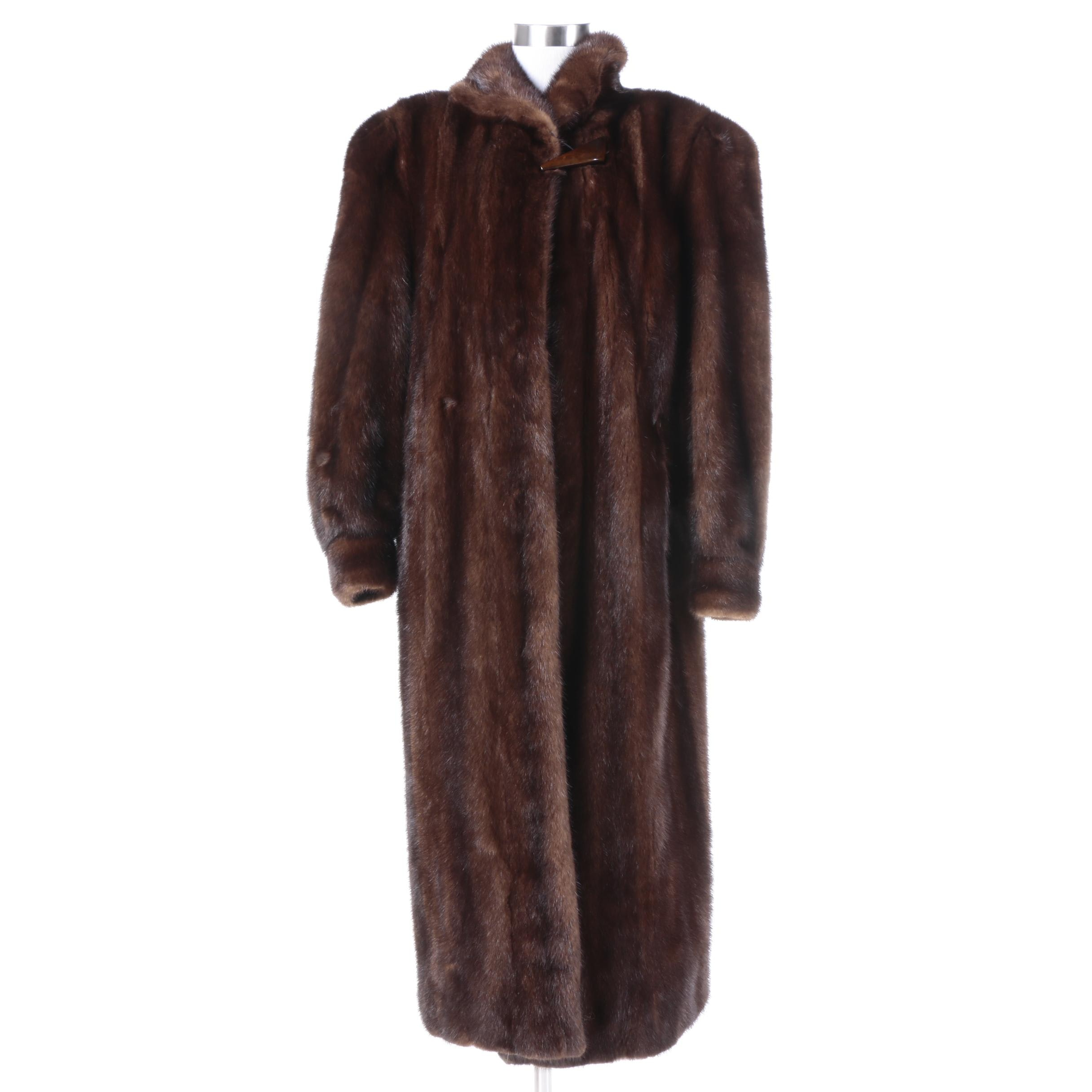 Women's Vintage Full-Length Dyed Dark Brown Mink Fur Coat