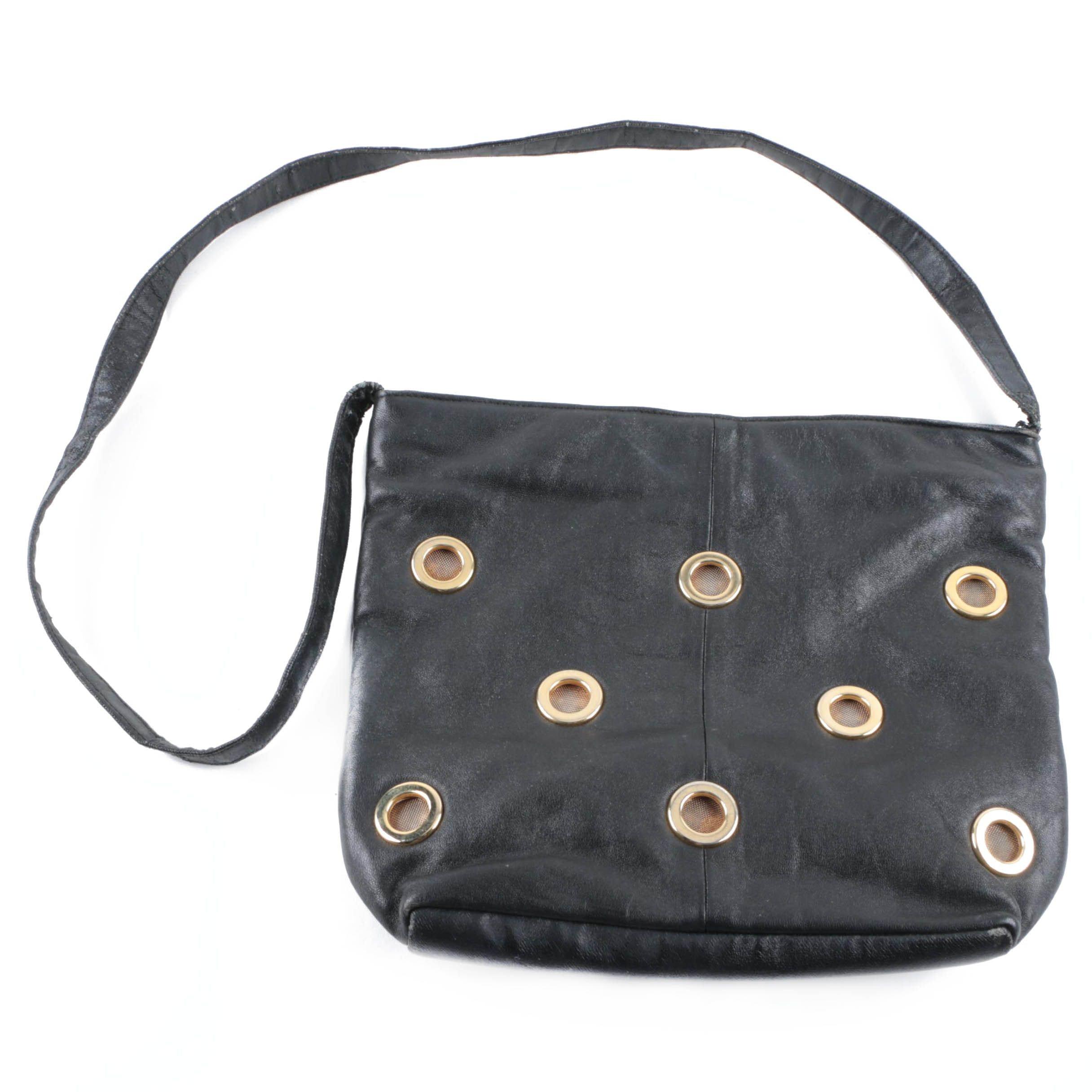 Black Faux Leather Grommet Shoulder Bag